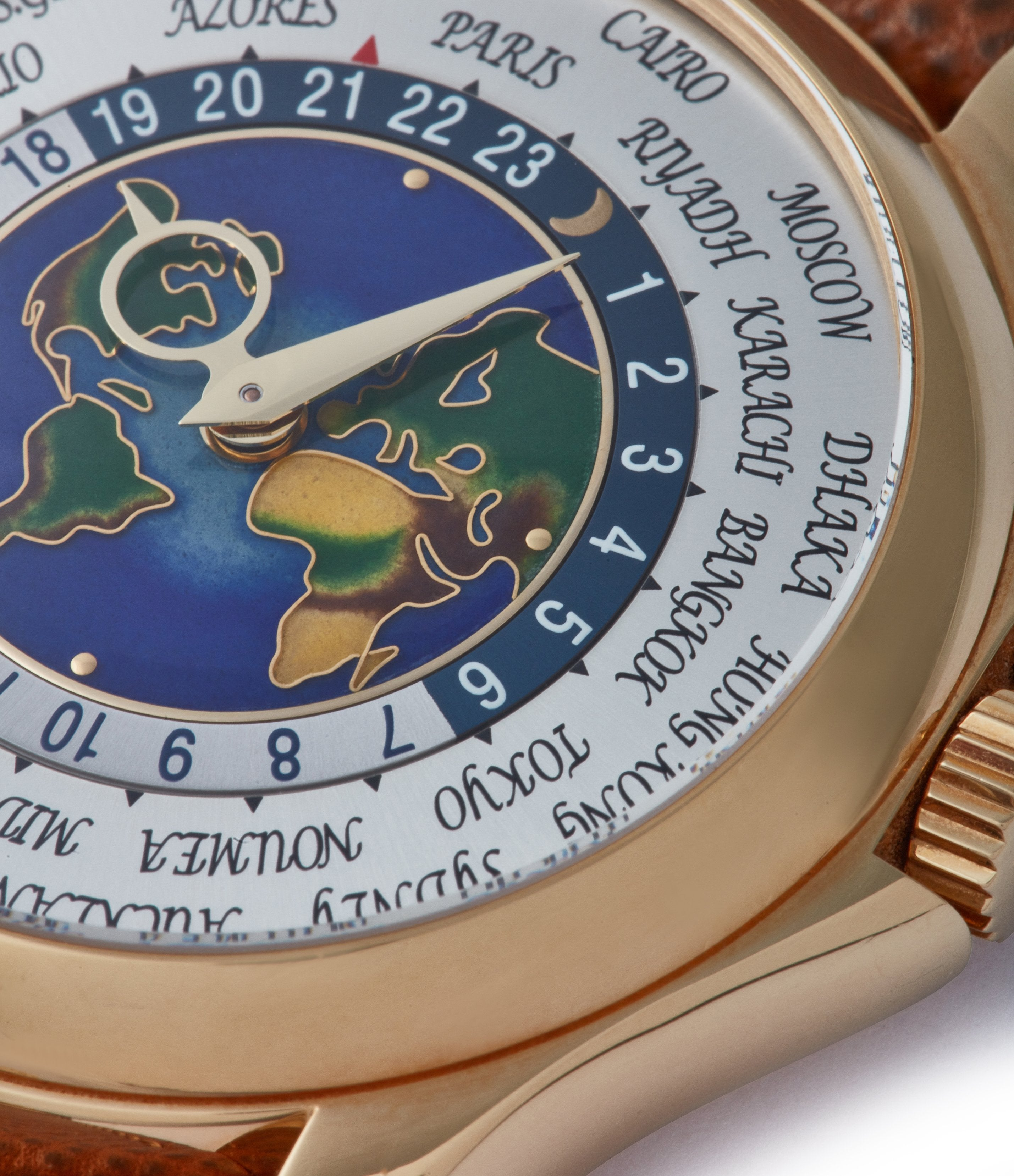 enamel dial map Worldtime Patek Philippe 5131J-014 yellow gold enamel dial traveller watch for sale online A Collected Man London UK specialist rare watches