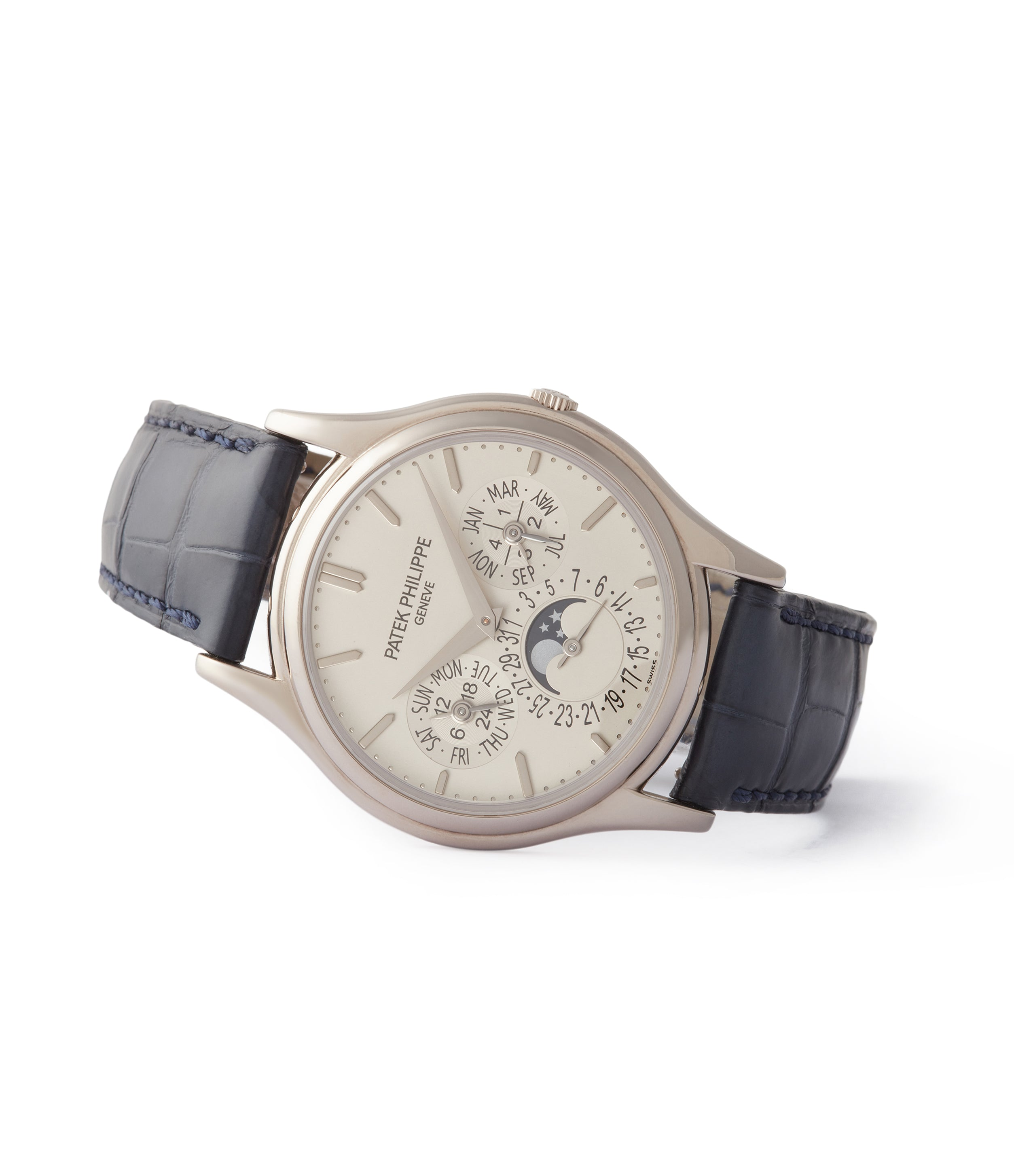 side-shot rare Patek Philippe Perpetual Calendar 5140G moonphase white gold silver dial pre-owned dress watch for sale online A Collected Man London UK specialist rare watches