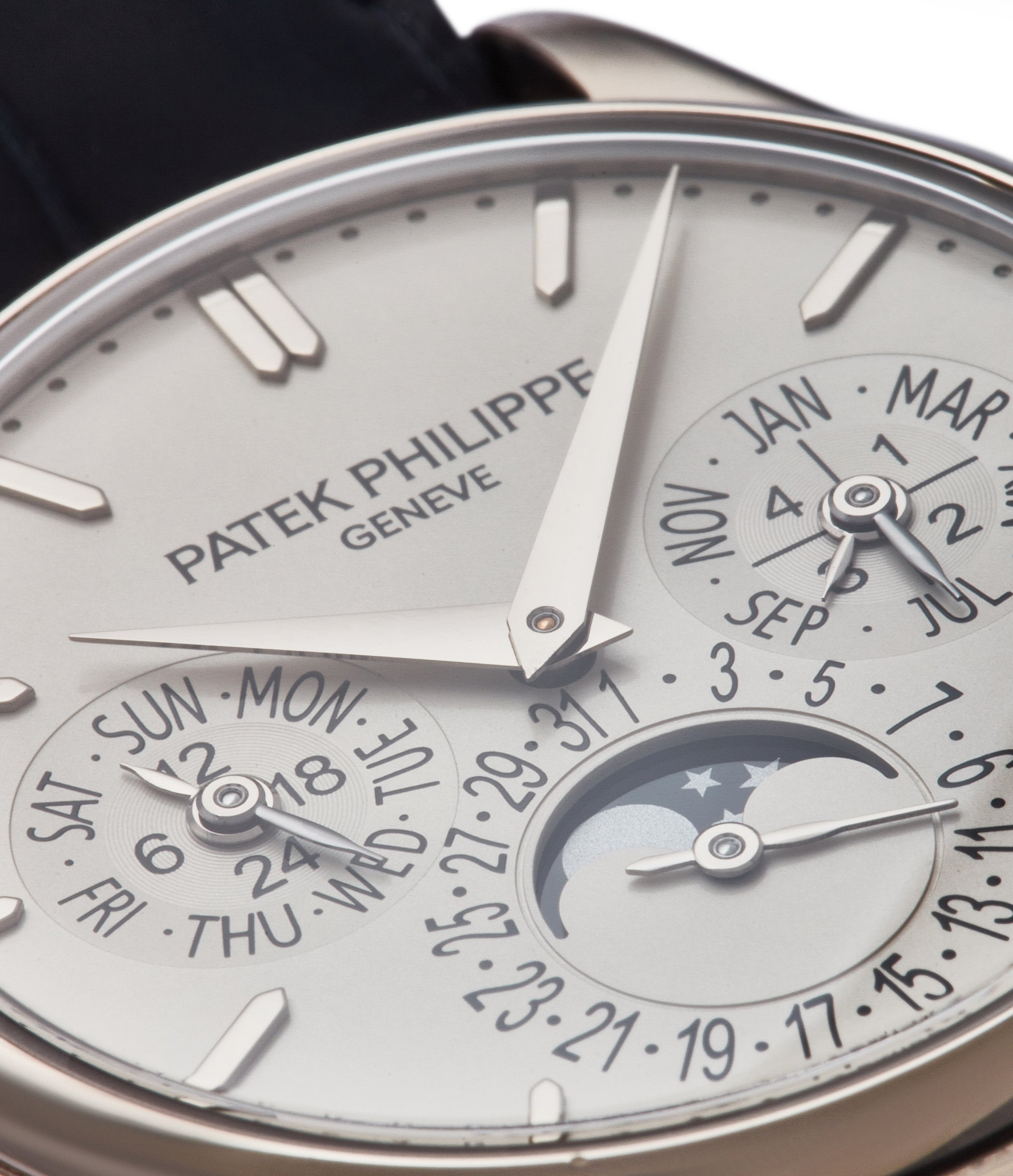 perpetual calendar Patek Philippe 5140G moonphase white gold silver dial pre-owned dress watch for sale online A Collected Man London UK specialist rare watches