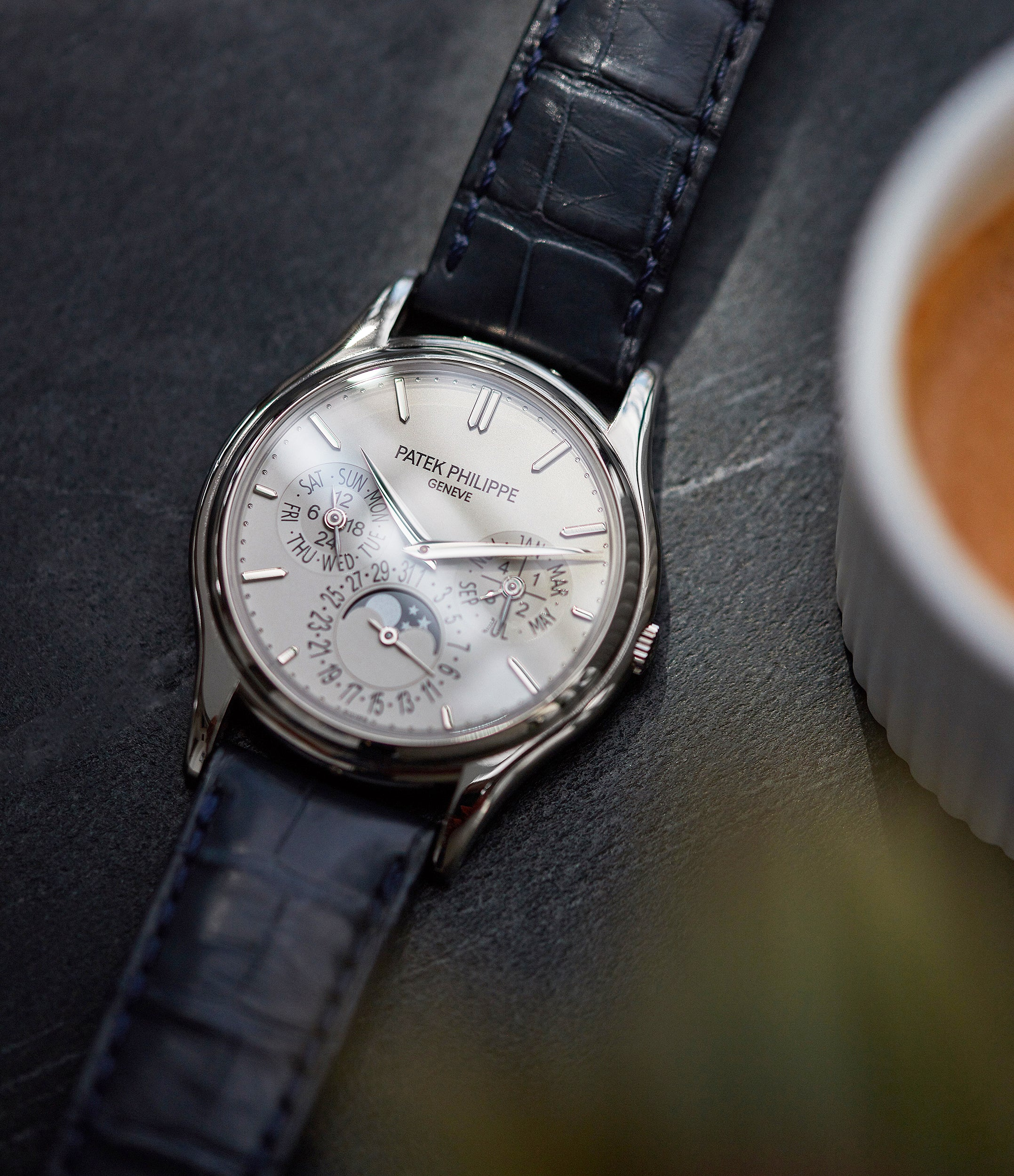 shop pre-owned Patek Philippe 5140G Perpetual Calendar moonphase white gold silver dial dress watch for sale online A Collected Man London UK specialist rare watches