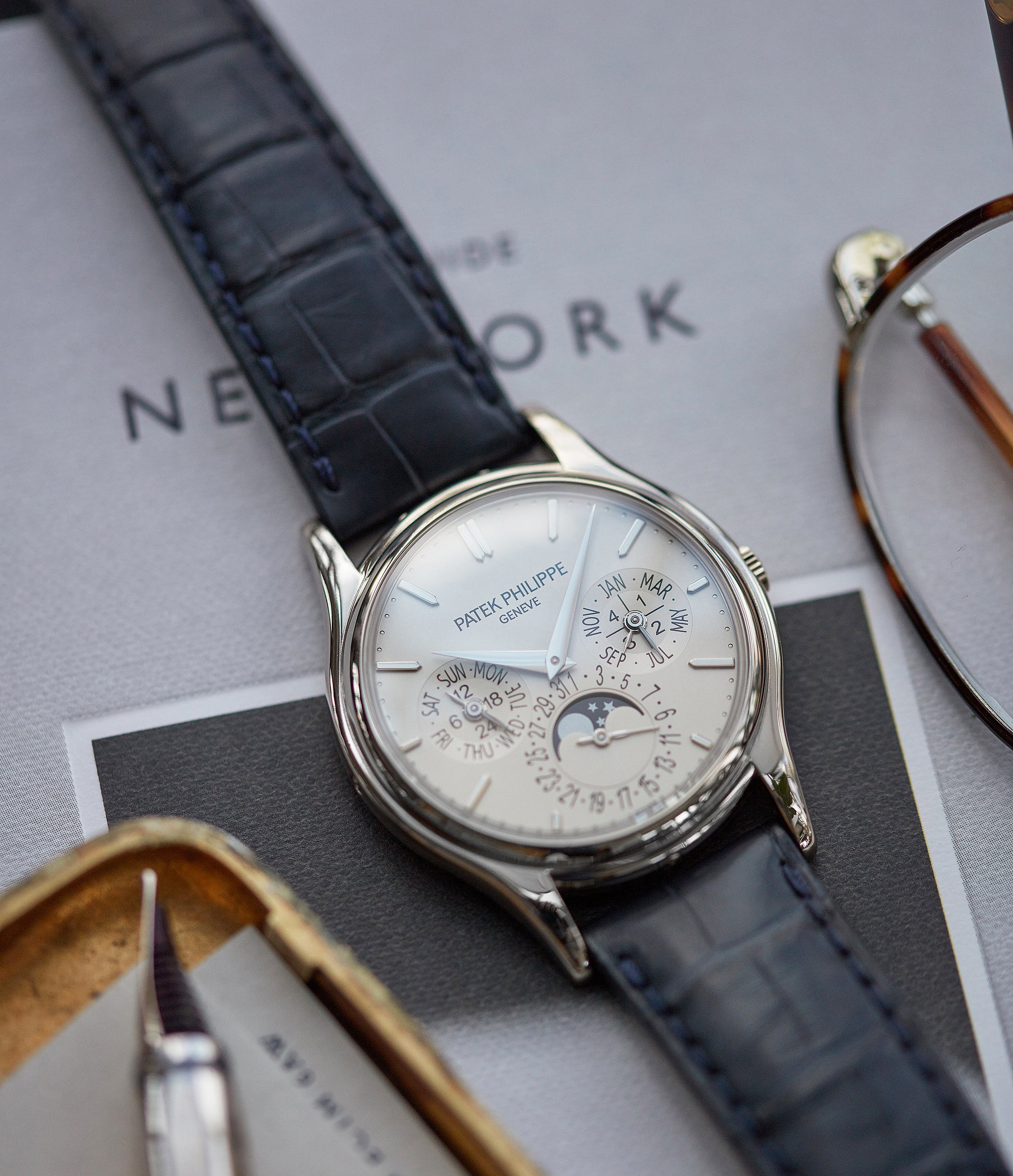 selling Patek Philippe Perpetual Calendar 5140G moonphase white gold silver dial pre-owned dress watch for sale online A Collected Man London UK specialist rare watches