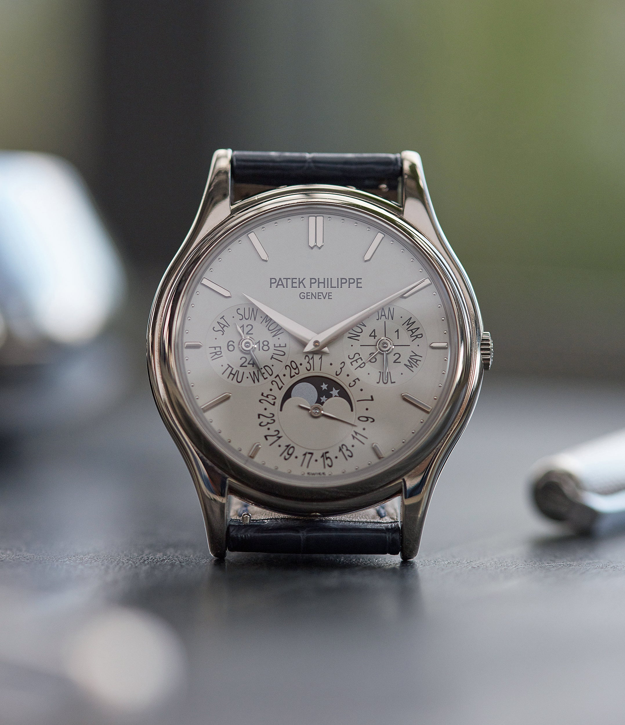 5140G Patek Philippe Perpetual Calendar moonphase white gold silver dial pre-owned dress watch for sale online A Collected Man London UK specialist rare watches