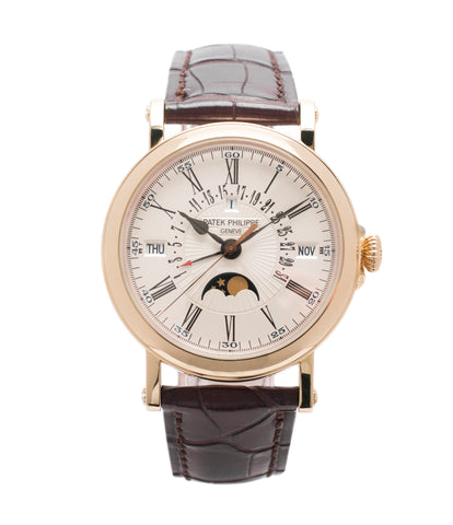 buy Patek Philippe 5159R-001 Perpetual Calendar Retrograde Date Officer case preowned luxury dress watch for sale online at A Collected Man London UK specialist of rare watches