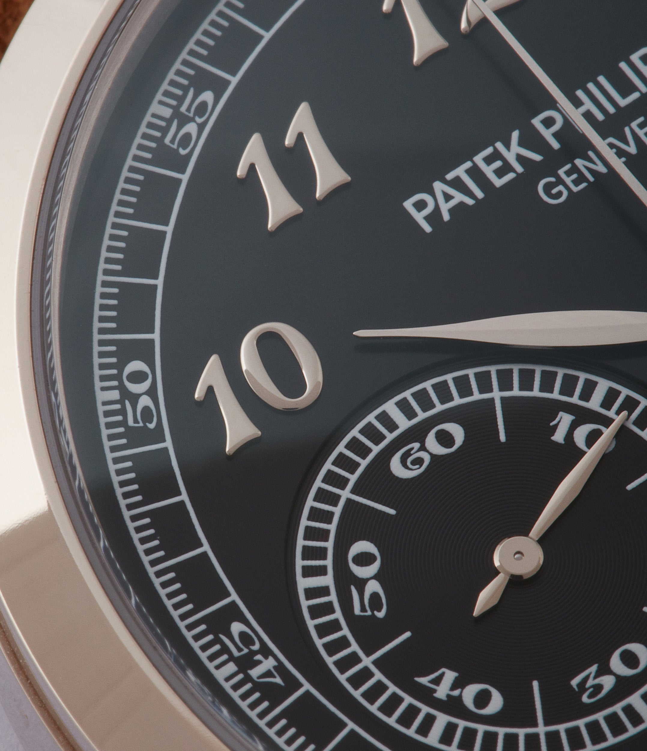 black dial Patek Philippe Chronograph 5170G-010 white gold pre-owned watch for sale online at A Collected Man London UK specialist of rare watches