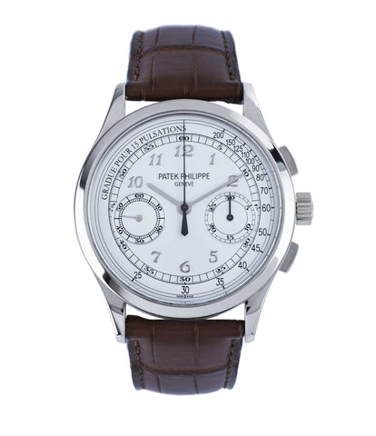 buy preowned Patek Philippe 5170G-001 grey gold dress Chronograph Pulsation Scale watch at A Collected Man London rare watch specialist in United Kingdom