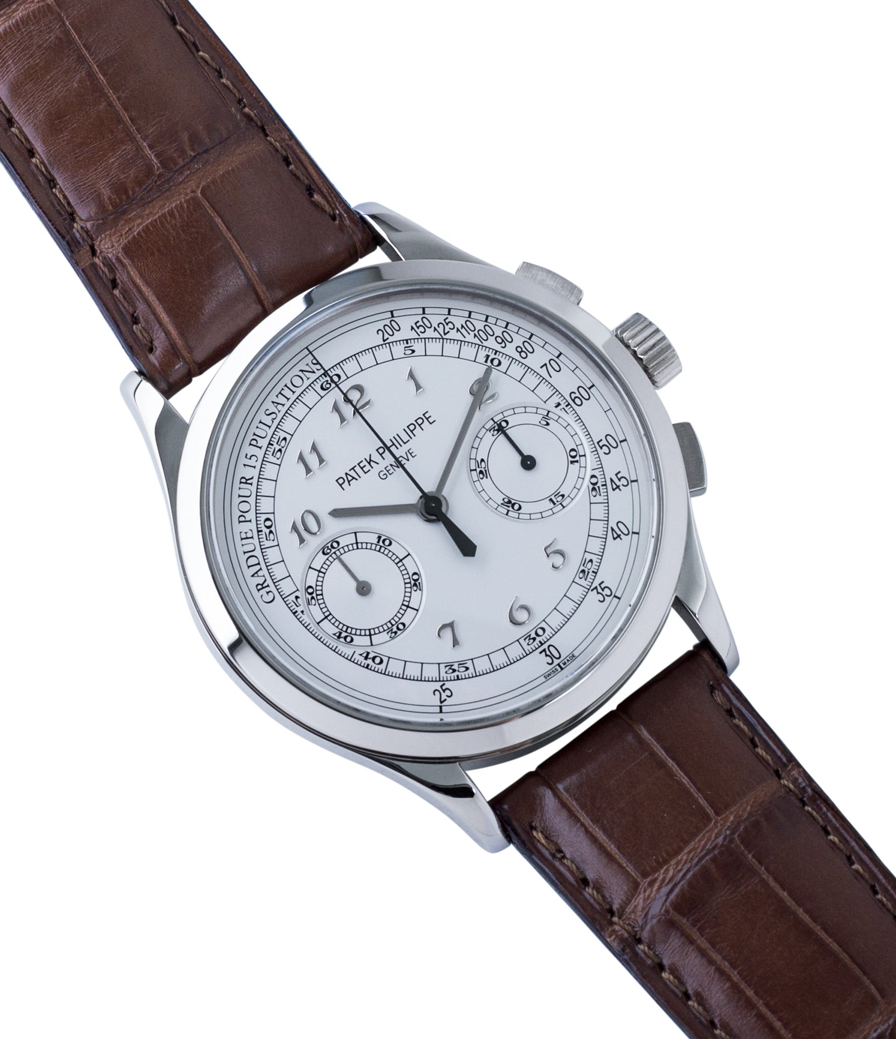 for sale preowned Patek Philippe 5170G-001 grey gold dress Chronograph Pulsation Scale watch at A Collected Man London rare watch specialist in United Kingdom