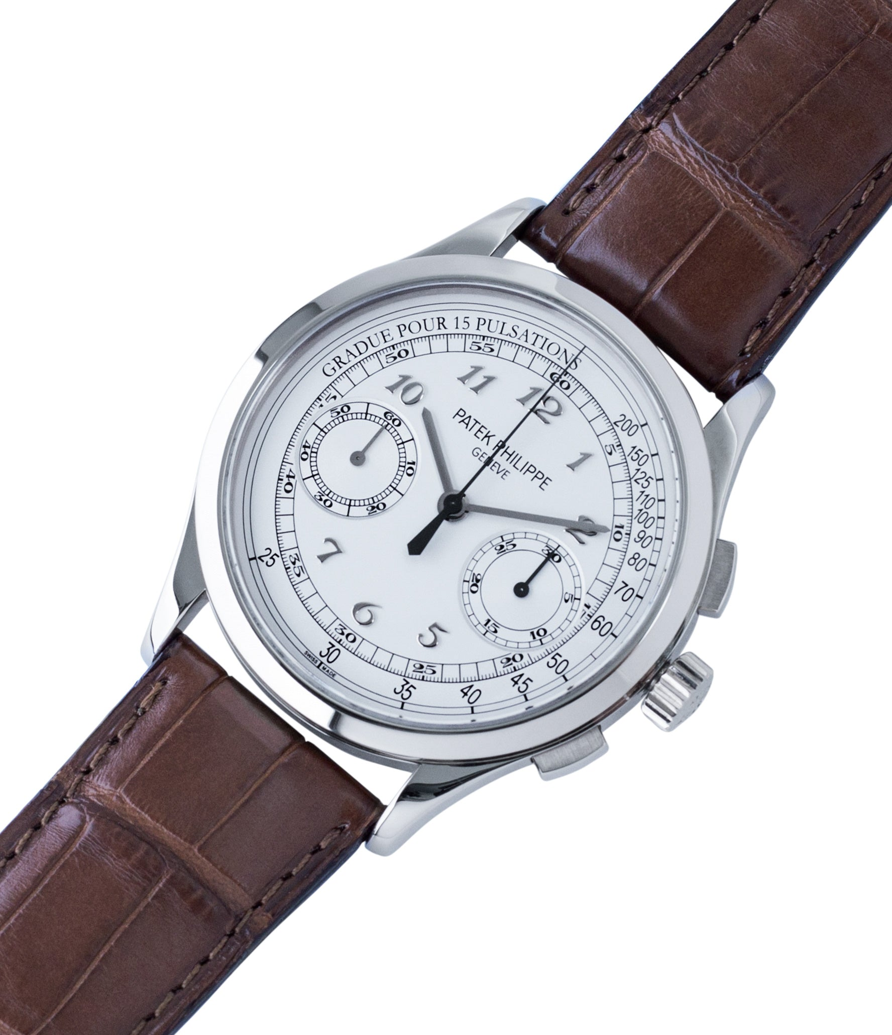 for sale Patek Philippe 5170G-001 grey gold dress Chronograph Pulsation Scale preowned watch at A Collected Man London rare watch specialist in United Kingdom