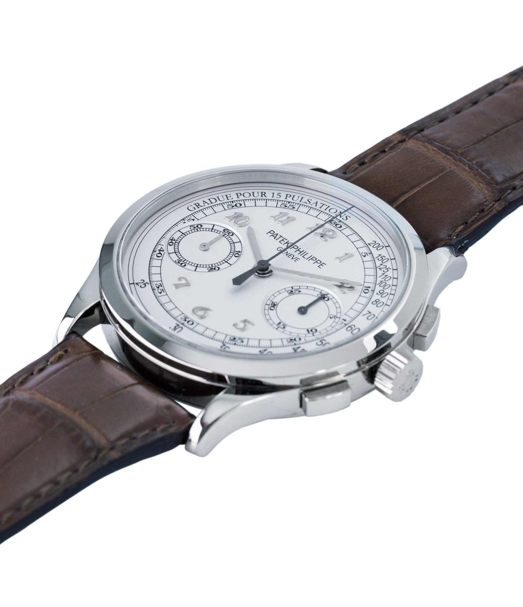 selling Patek Philippe 5170G-001 grey gold dress Chronograph Pulsation Scale preowned watch at A Collected Man London rare watch specialist in United Kingdom