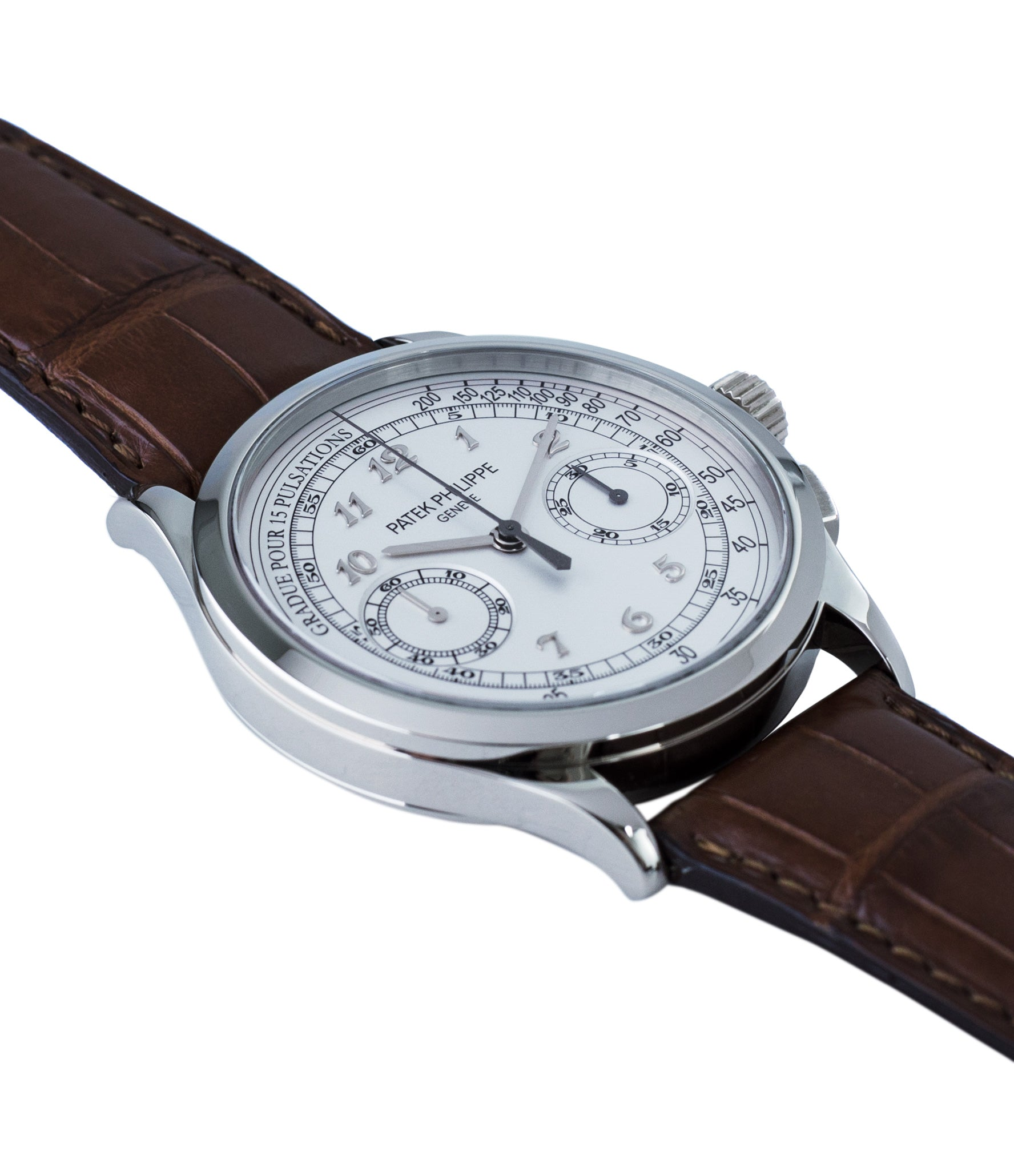 buy Patek Philippe 5170G-001 grey gold dress Chronograph Pulsation Scale preowned watch at A Collected Man London rare watch specialist in United Kingdom