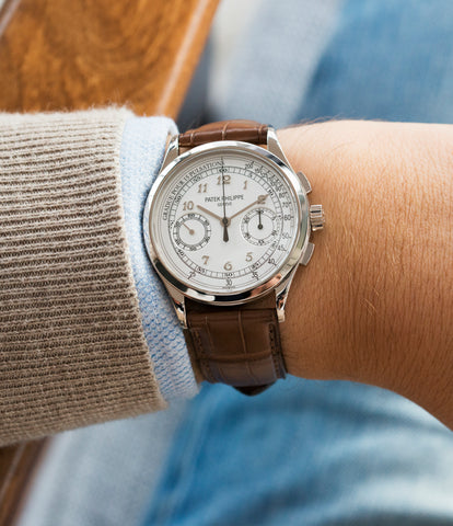 on the wrist Patek Philippe 5170G-001 grey gold dress Chronograph Pulsation Scale watch at A Collected Man London rare watch specialist in United Kingdom