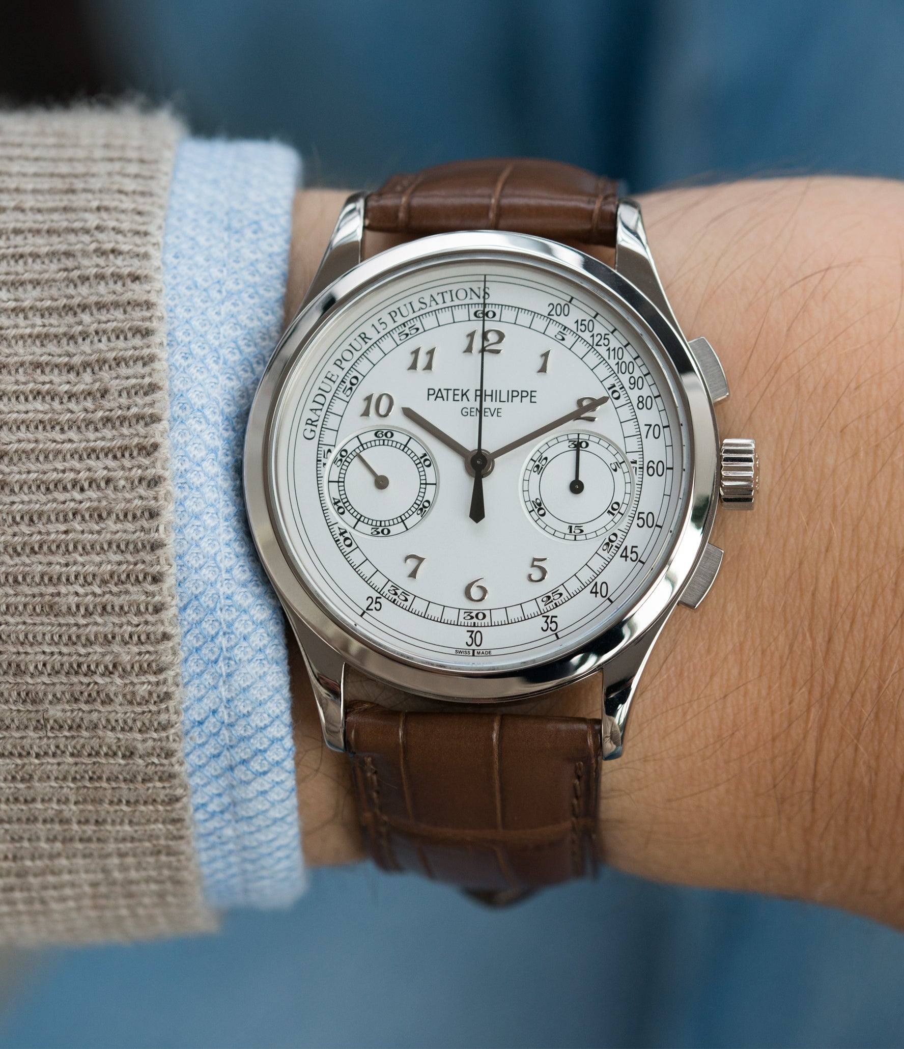 buy 5170 Patek Philippe grey gold dress Chronograph Pulsation Scale preowned watch at A Collected Man London rare watch specialist in United Kingdom
