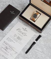 full set pre-owned Patek Philippe 5170G-010 Chronograph black dial manual-winding watch for sale online at A Collected Man London UK specialist of rare watches