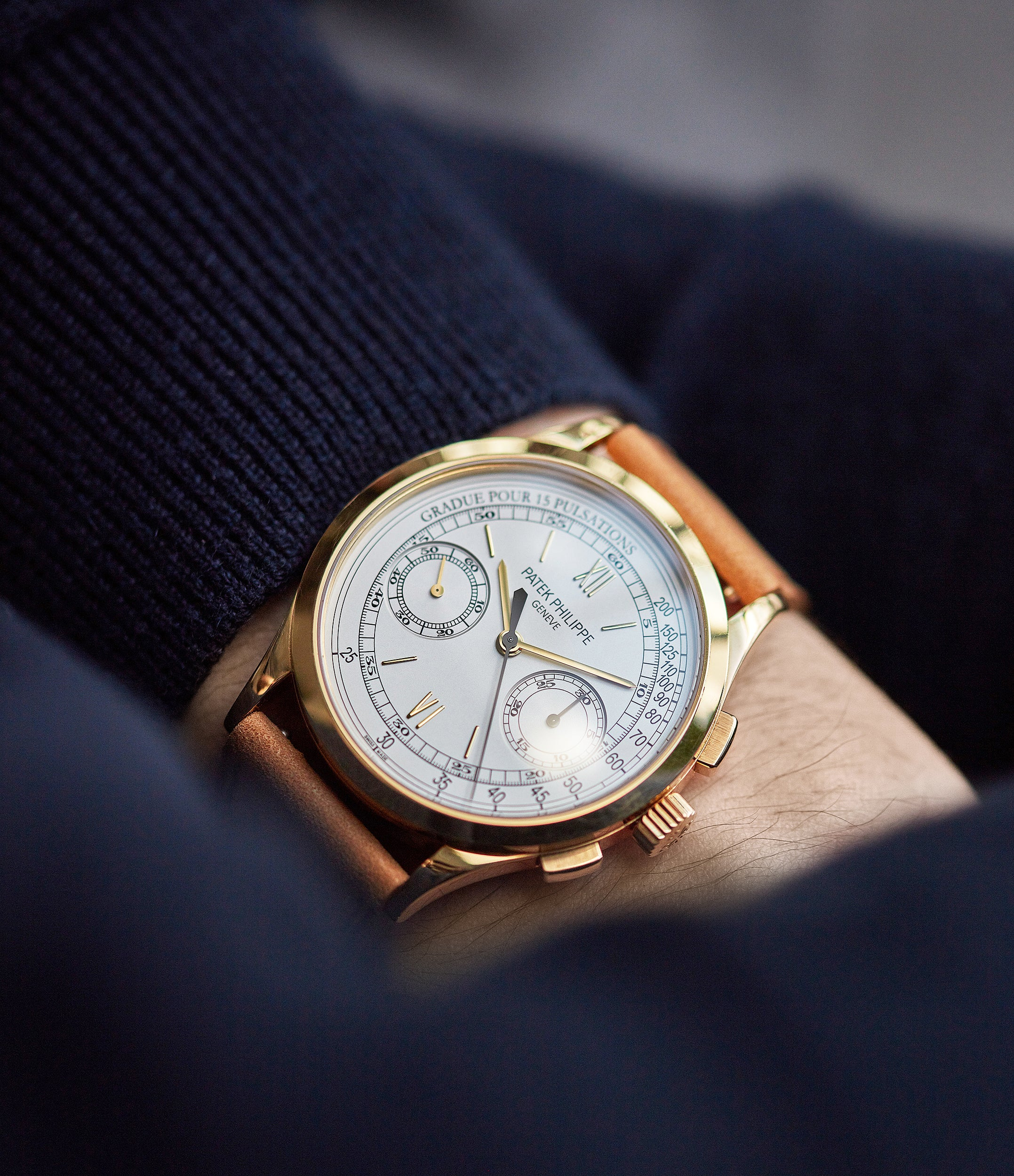 rare Patek Philippe 5170J-001 Chronograph yellow gold dress pre-owned watch for sale online at A Collected Man London UK specialist of rare watches