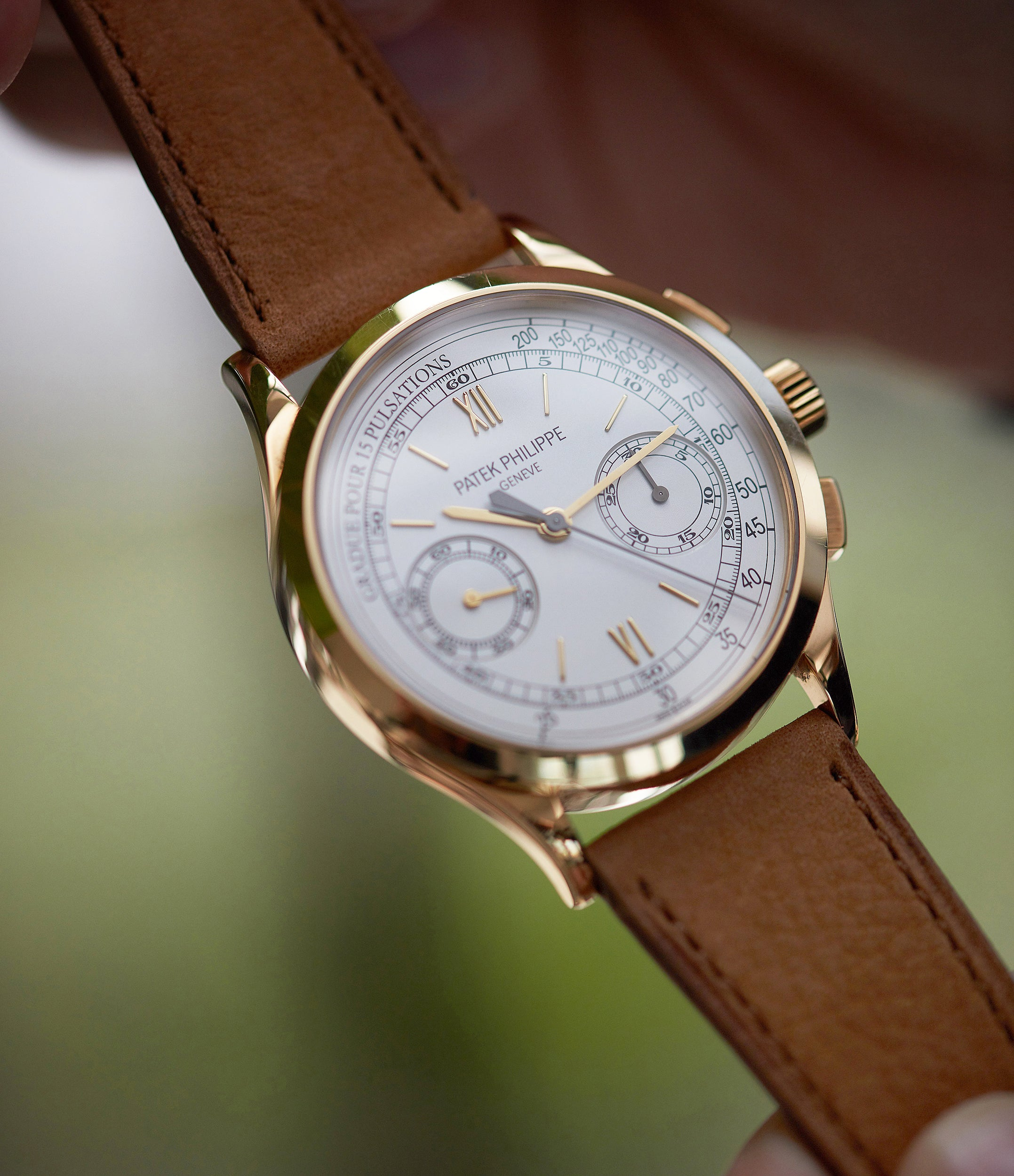 Patek Philippe 5170J-001 Chronograph yellow gold dress pre-owned watch for sale online at A Collected Man London UK specialist of rare watches