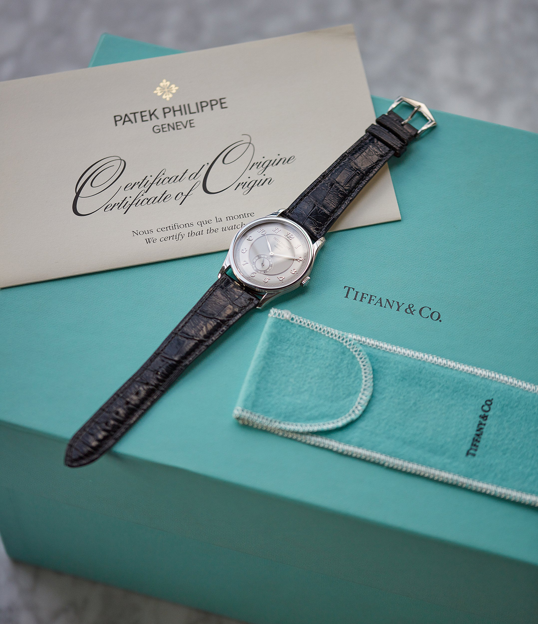 Tiffany-signed Patek Philippe Calatrava 5196P-001 manual-winding platinum pre-owned watch for sale online at A Collected Man London UK specialist of rare watches
