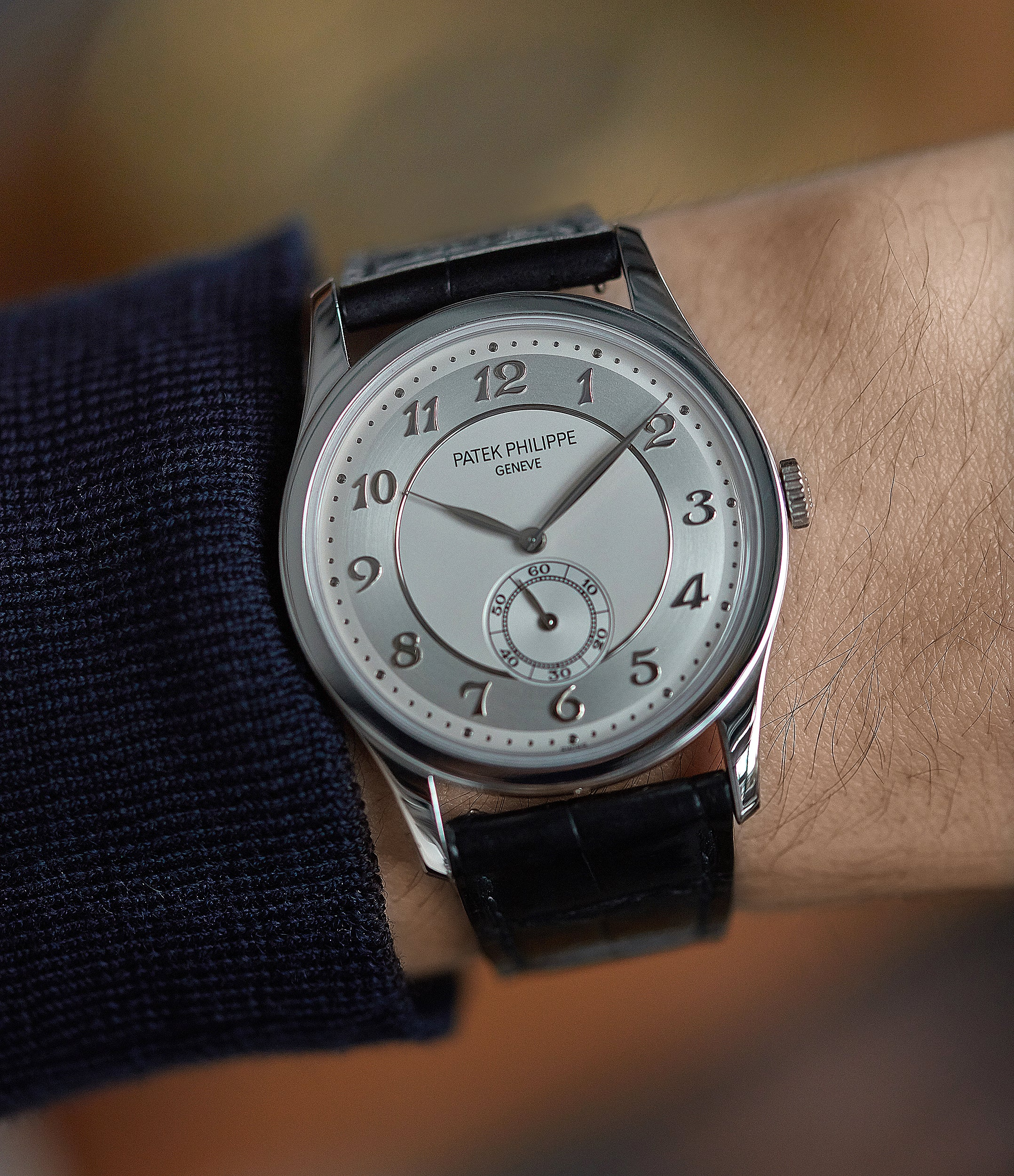 hands-on Patek Philippe 5196P Calatrava time-only platinum men's dress watch for sale online at A Collected Man London UK specialist of rare watches