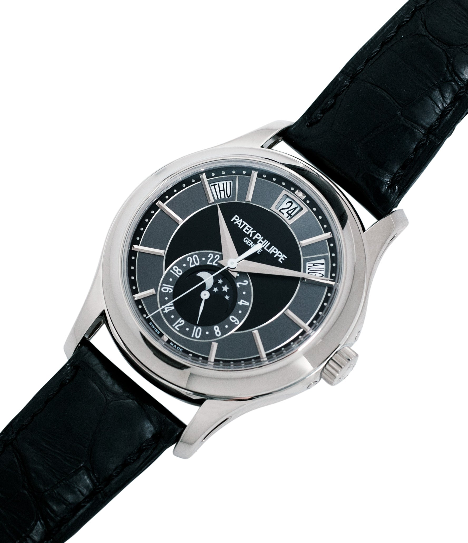 selling Patek Philippe Annual Calendar Moonphase 5205G-010 white gold watch online at A Collected Man London specialist retailer of rare watches UK