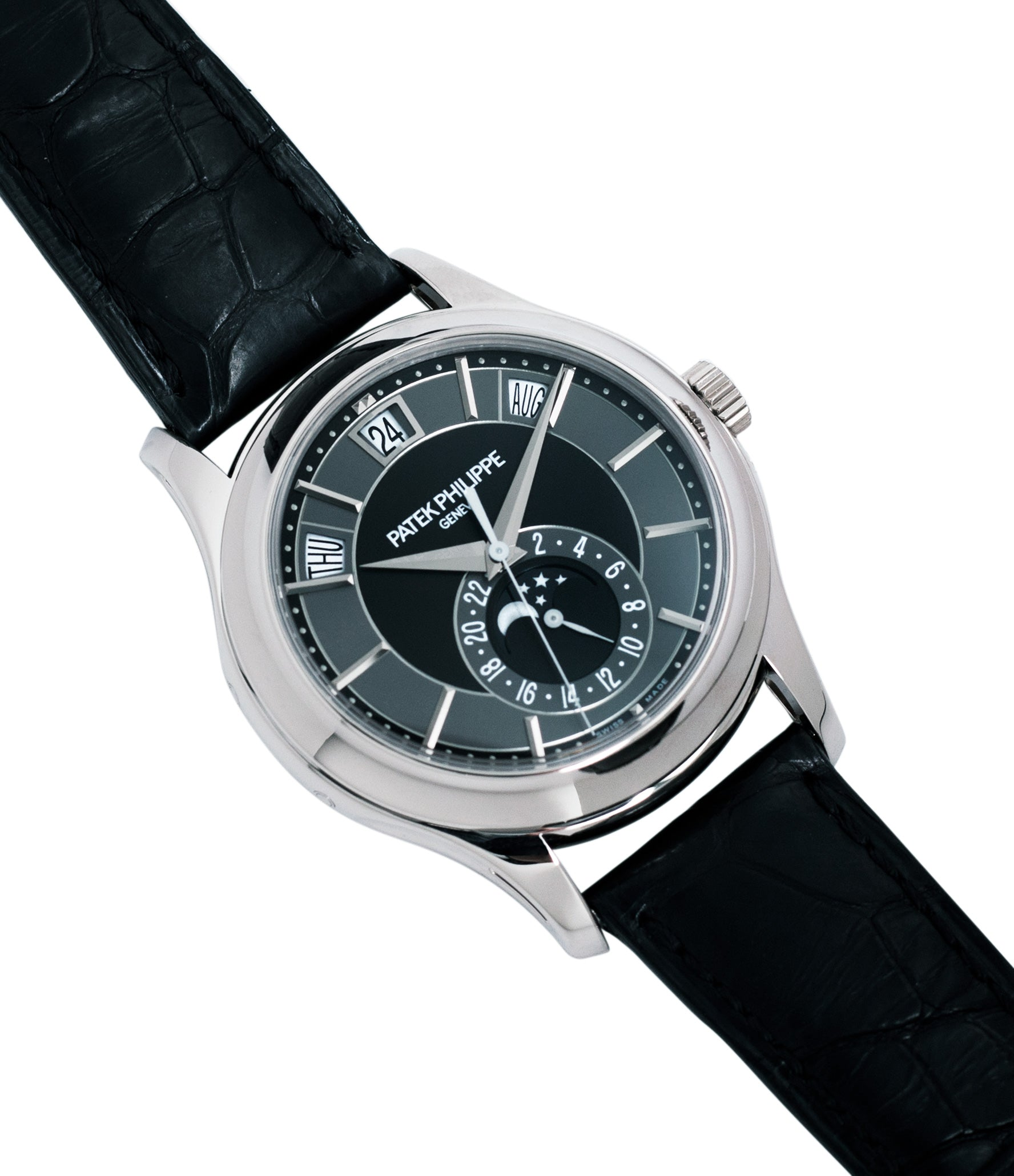 selling preowned Patek Philippe Annual Calendar Moonphase 5205G-010 white gold watch online at A Collected Man London specialist retailer of rare watches UK