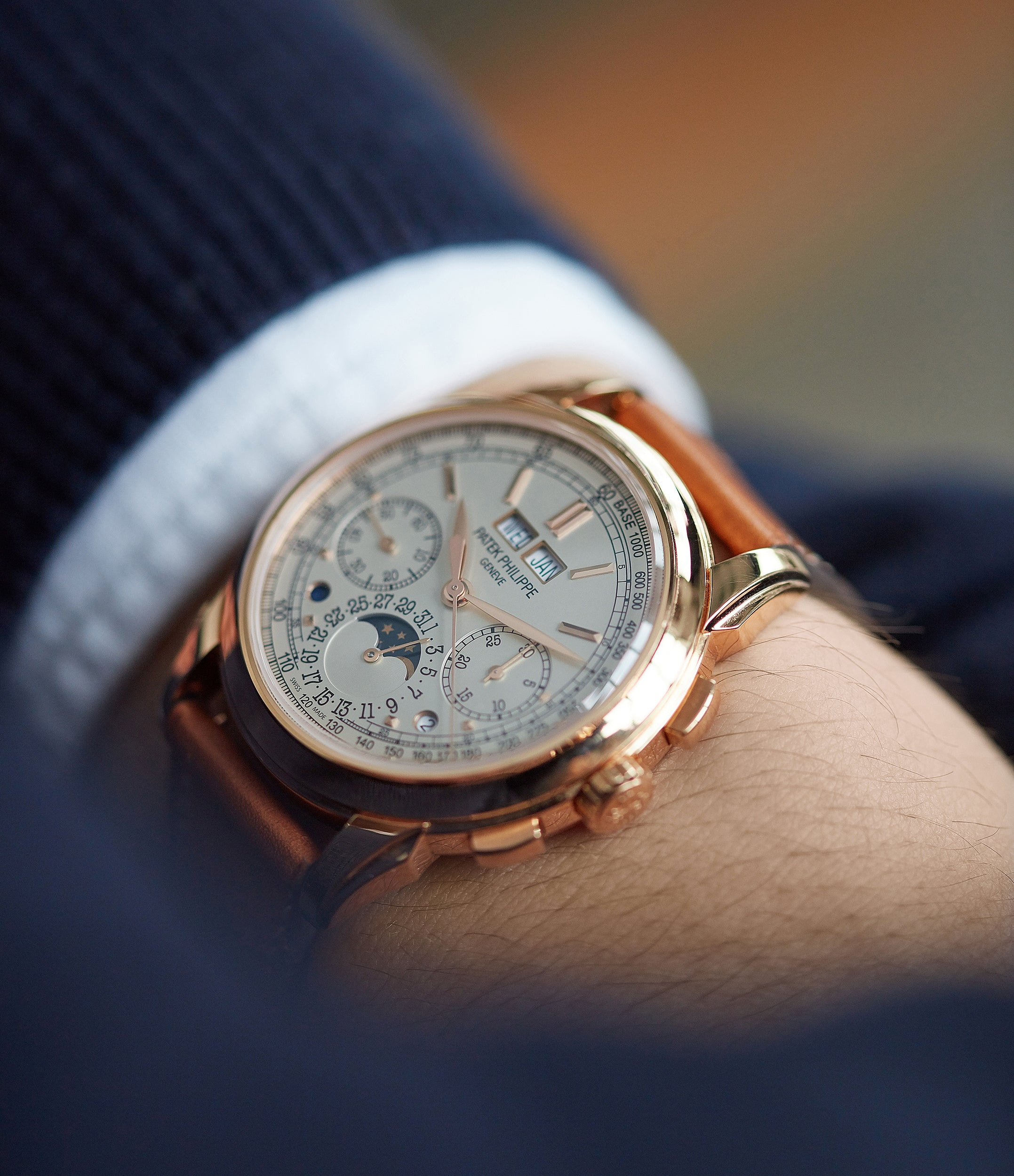 pre-owned Patek Philippe 5270R Grand Complications Perpetual Calendar Chronograph rose gold dress watch for sale online at A Collected Man London UK specialist of rare watches