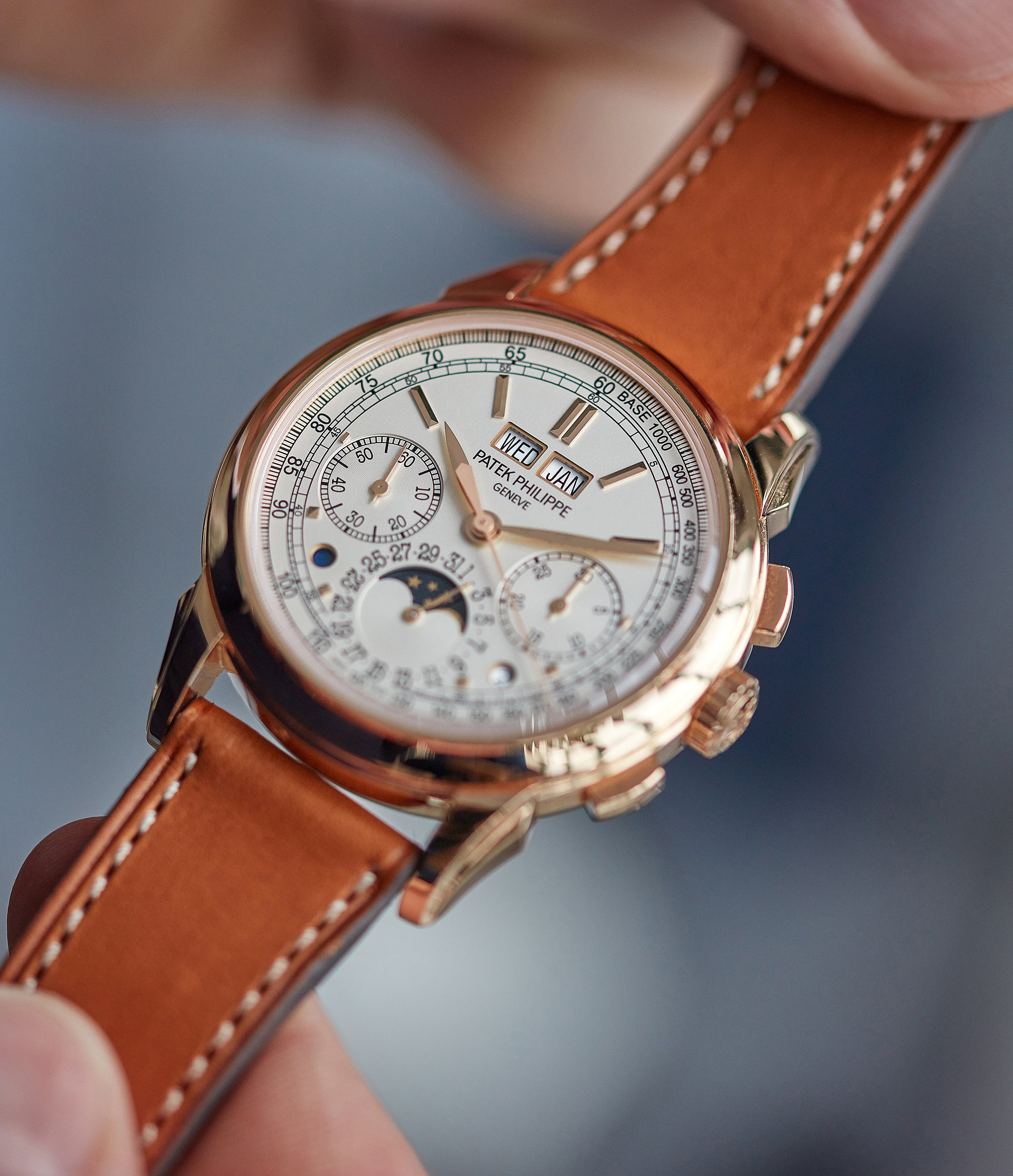 hands on with Patek Philippe 5270R Grand Complications Perpetual Calendar Chronograph rose gold dress watch for sale online at A Collected Man London UK specialist of rare watches