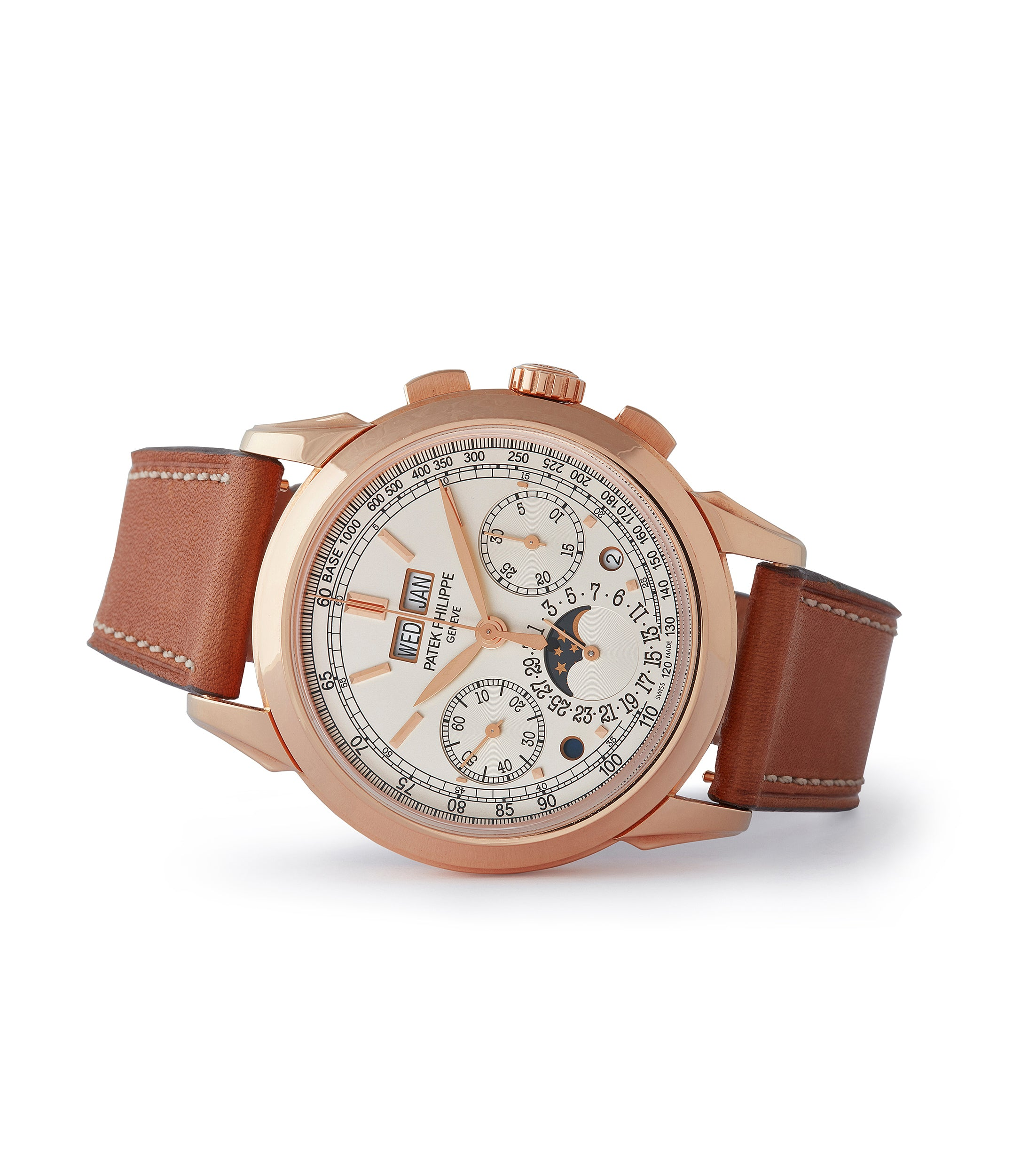 side-shot rare Patek Philippe 5270R Grand Complications Perpetual Calendar Chronograph rose gold dress watch for sale online at A Collected Man London UK specialist of rare watches