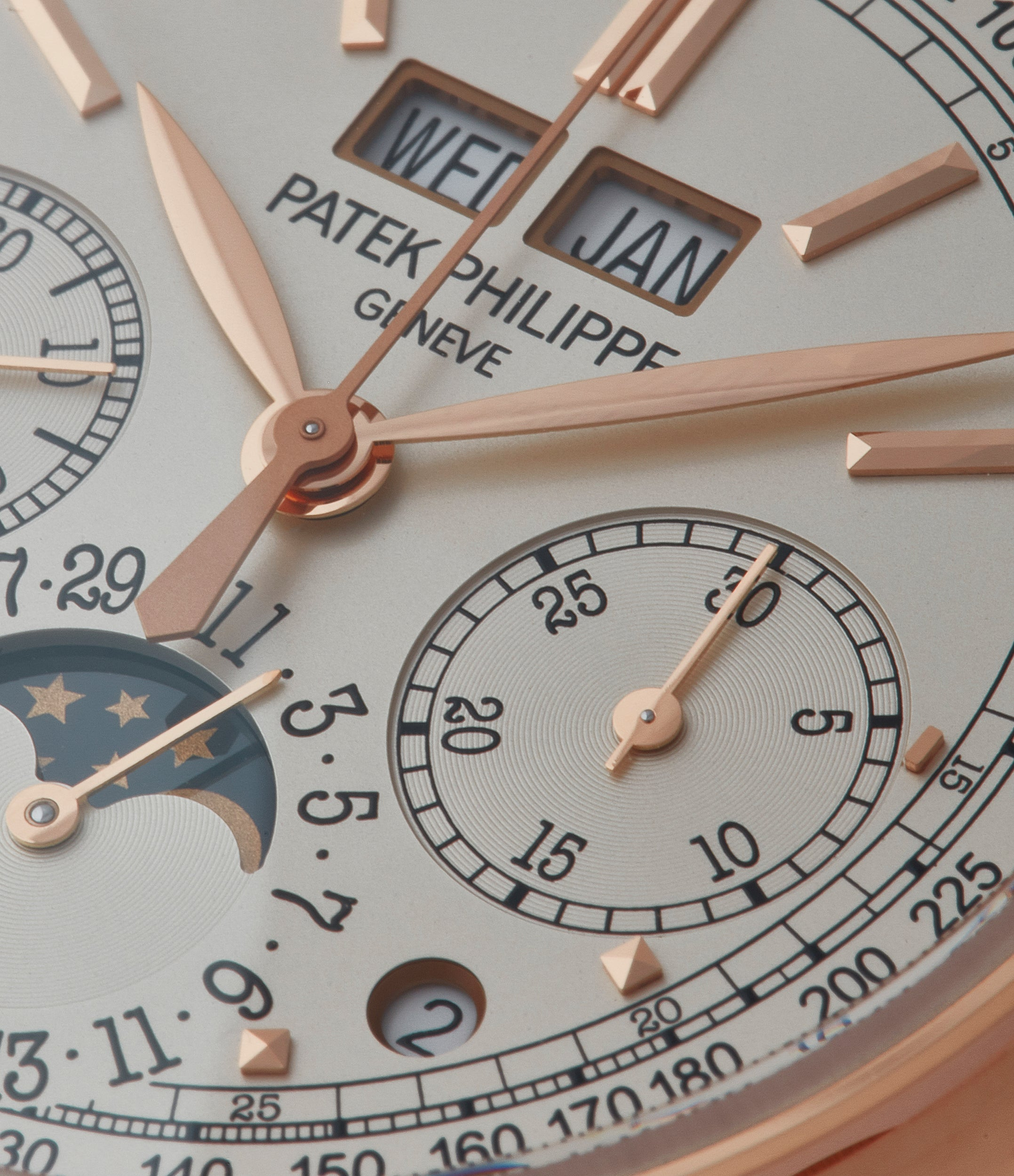 silver dial perpetual calendar Patek Philippe 5270R Grand Complications Chronograph rose gold dress watch for sale online at A Collected Man London UK specialist of rare watches