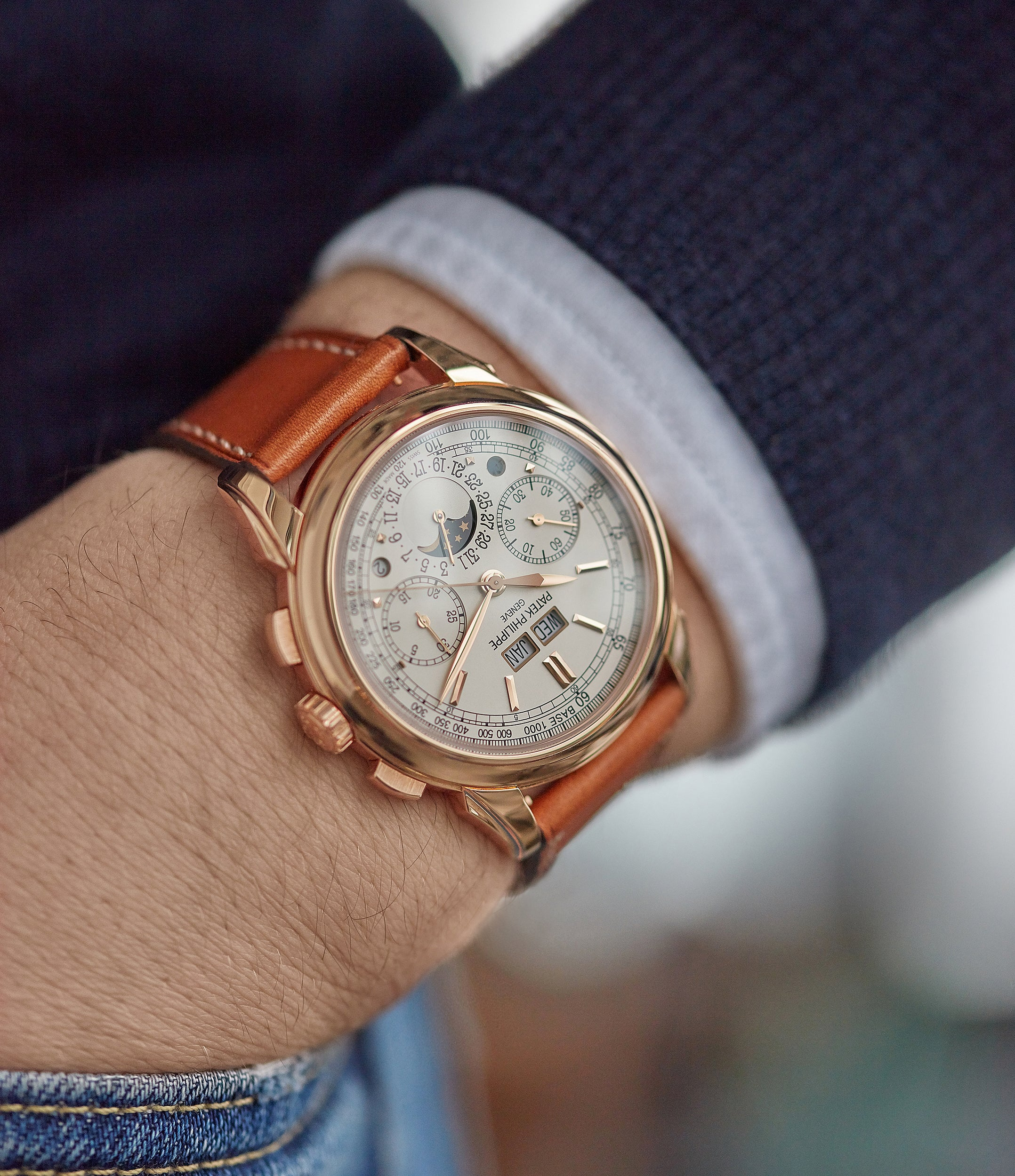 Patek Philippe Grand Complication Perpetual Calendar Chronograph 5270 rose gold dress watch for sale online at A Collected Man London UK specialist of rare watches