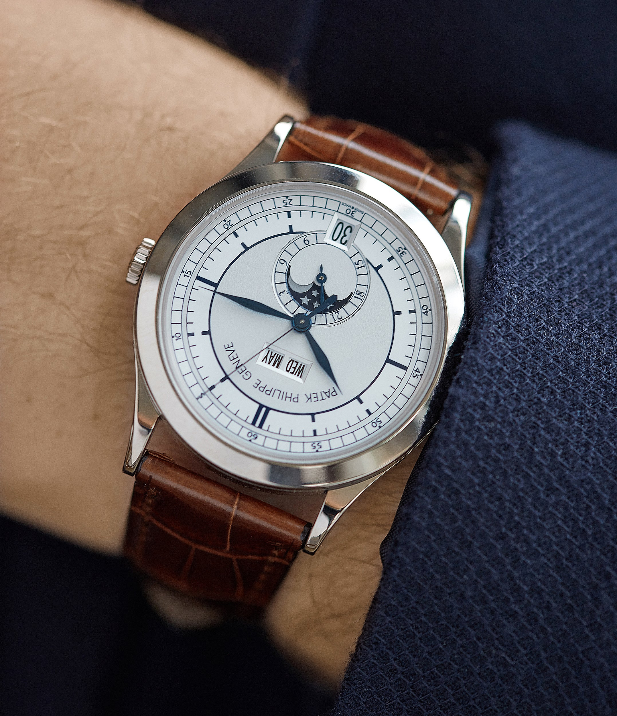 rare luxury dress watch sector dial Patek Philippe 5396G-001 Annual Calendar pre-owned rare white gold dress watch for sale online at A Collected Man London UK specialist of rare watches