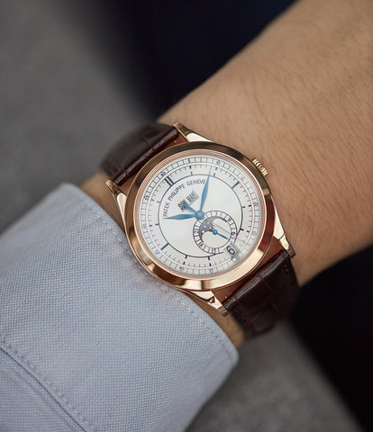 on the wrist Patek Philippe 5396R-001 Annual Calendar rose gold luxury pre-owned dress watch for sale online  at A Collected Man London UK specialist of rare watches