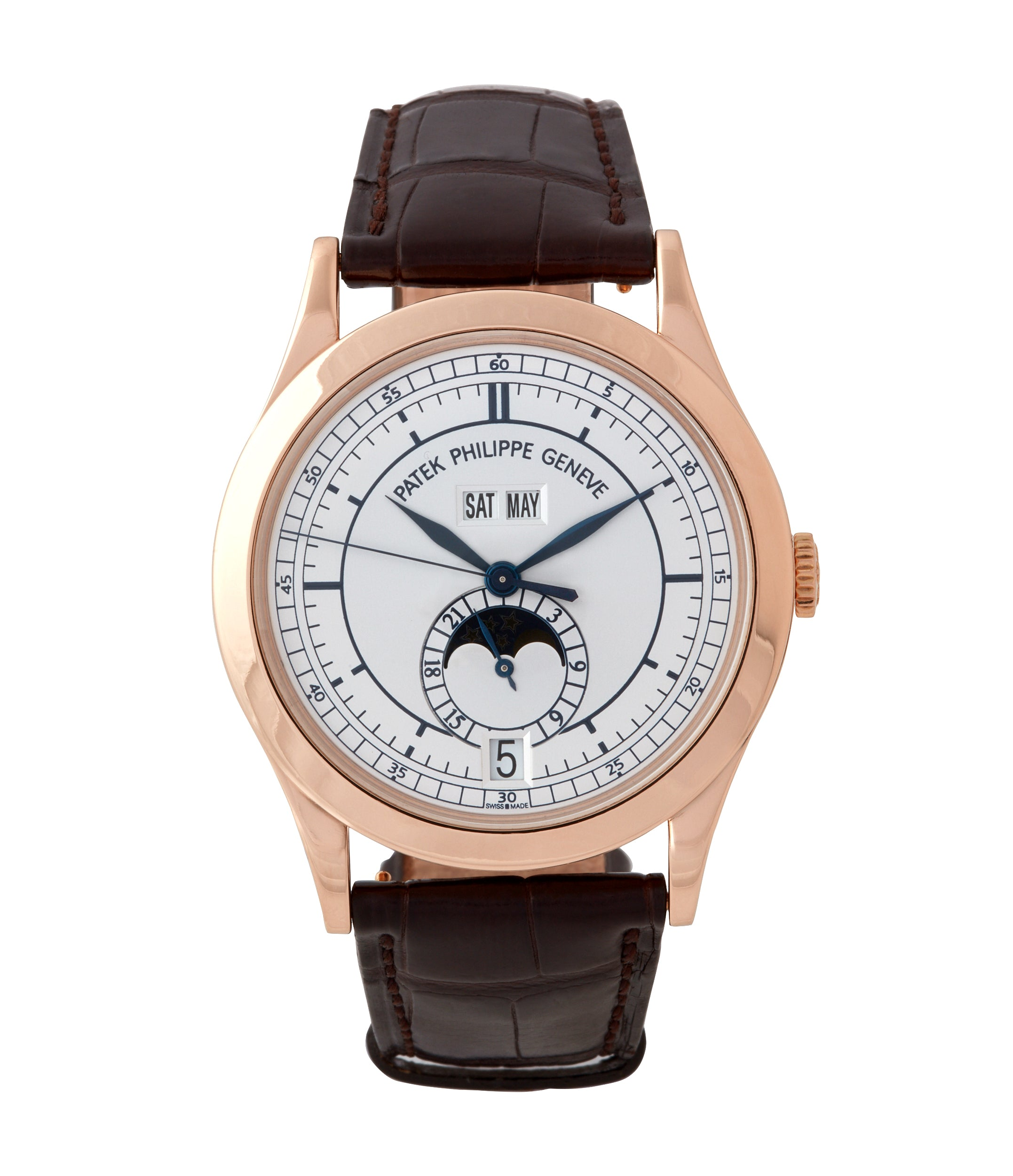 dial philippe opaline leather brown annual men white patek calendar watch s watches