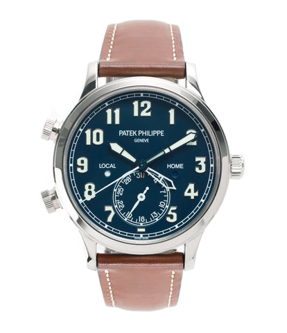 buy Patek Philippe 5524G-001 pilot travel-time white gold watch online at A Collected Man London specialist retailer of rare watches