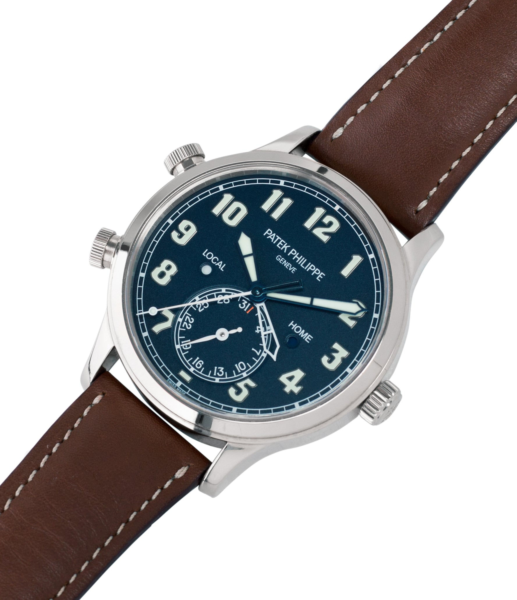 buying Patek Philippe 5524G-001 pilot travel-time white gold watch online at A Collected Man London specialist retailer of rare watches