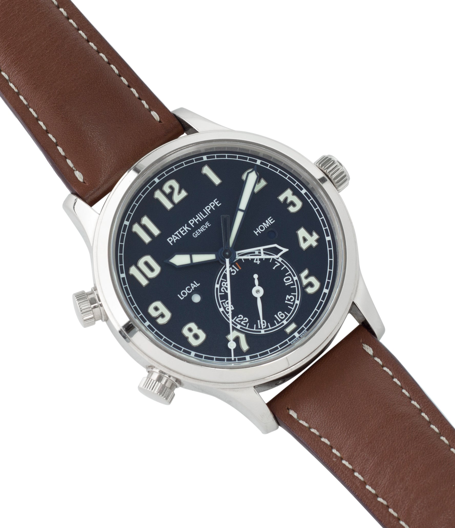 selling Patek Philippe 5524G-001 pilot travel-time white gold watch online at A Collected Man London specialist retailer of rare watches