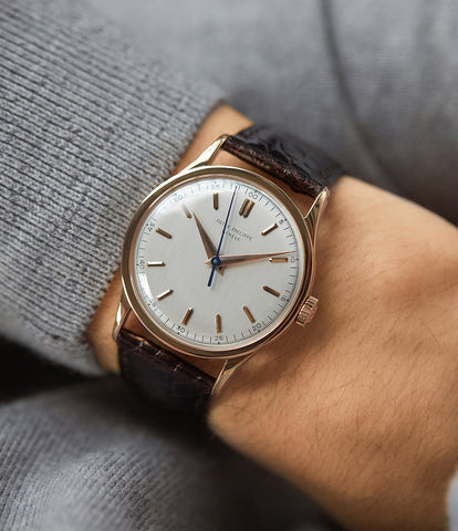 on the wrist vintage Patek Philippe 570R-SCI time-only rose gold dress watch Cal. 27SC with Archive Extracts for sale online at A Collected Man London UK specialist of rare watches
