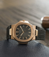 preowned Patek Philippe Nautilus 5711 rose gold dress watch chocolate brown dial for sale online at A Collected Man London UK specialist of rare watches