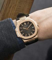 on the wrist Patek Philippe Nautilus 5711 rose gold dress watch chocolate brown dial for sale online at A Collected Man London UK specialist of rare watches