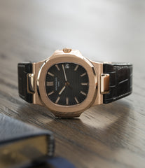 men's luxury dress watch Nautilus Patek Philippe 5711 rose gold dress watch chocolate brown dial for sale online at A Collected Man London UK specialist of rare watches