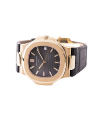 selling preowned Patek Philippe Nautilus 5711 rose gold dress watch chocolate brown dial for sale online at A Collected Man London UK specialist of rare watches