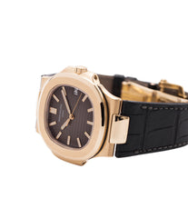 for sale preowned Patek Philippe Nautilus 5711 rose gold dress watch chocolate brown dial for sale online at A Collected Man London UK specialist of rare watches