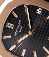 brown dial Patek Philippe Nautilus 5711 rose gold dress watch for sale online at A Collected Man London UK specialist of rare watches