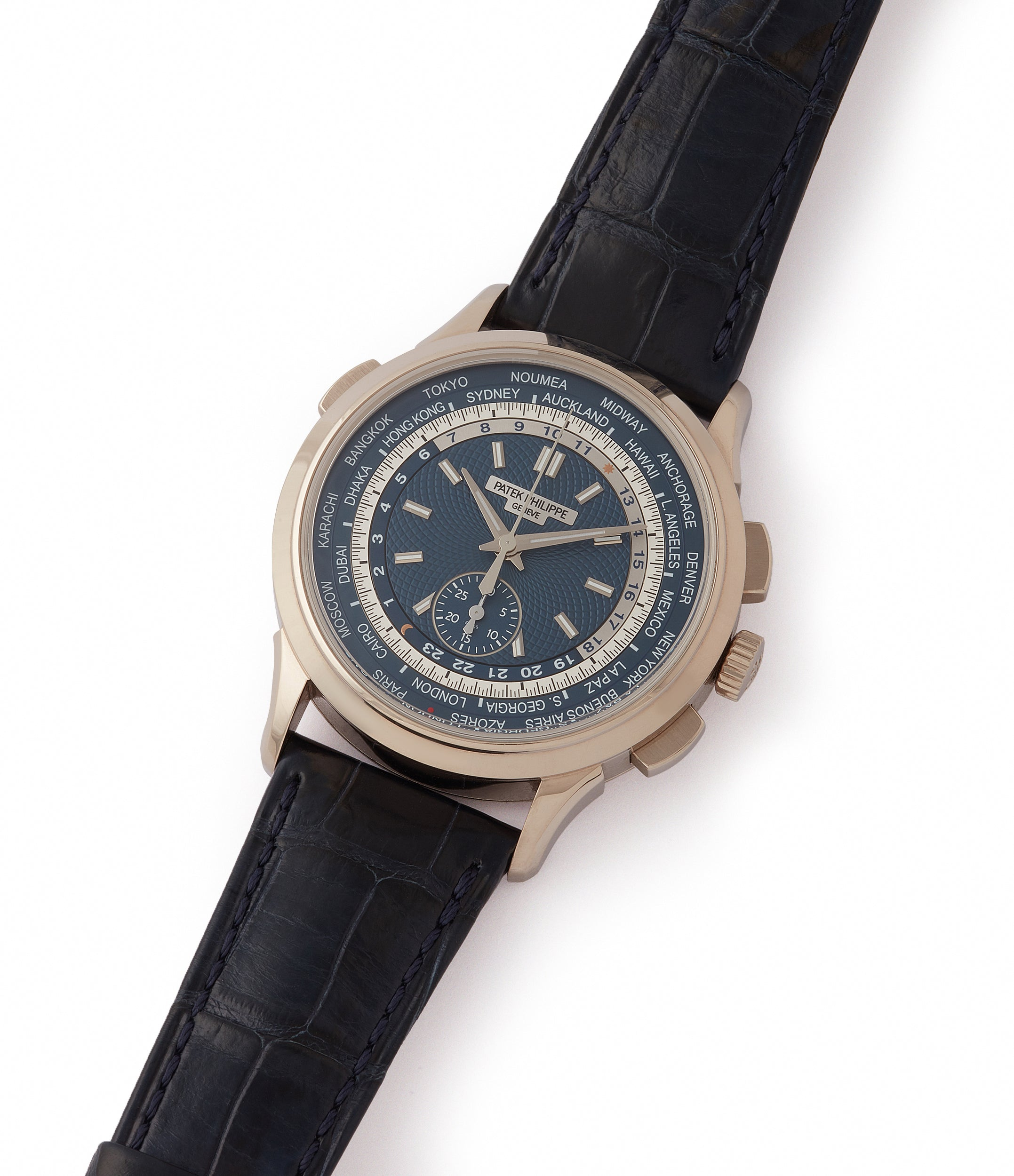 shop pre-owned Patek Philippe World Time Chronograph 5930G-001 white gold watch blue dial for sale online at A Collected Man London