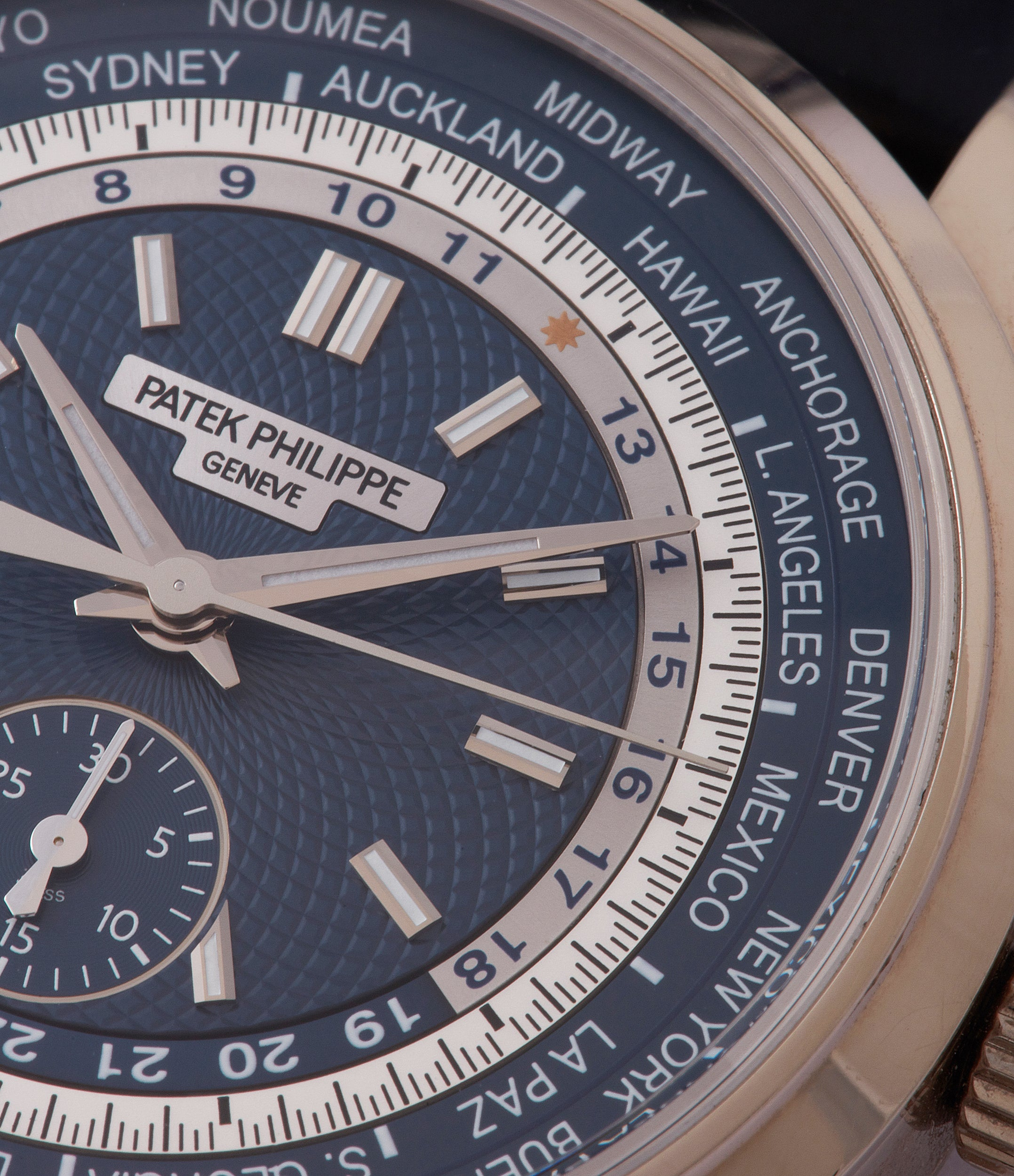 blue dial Patek Philippe World Time Chronograph 5930G-001 white gold watch blue dial for sale online at A Collected Man London
