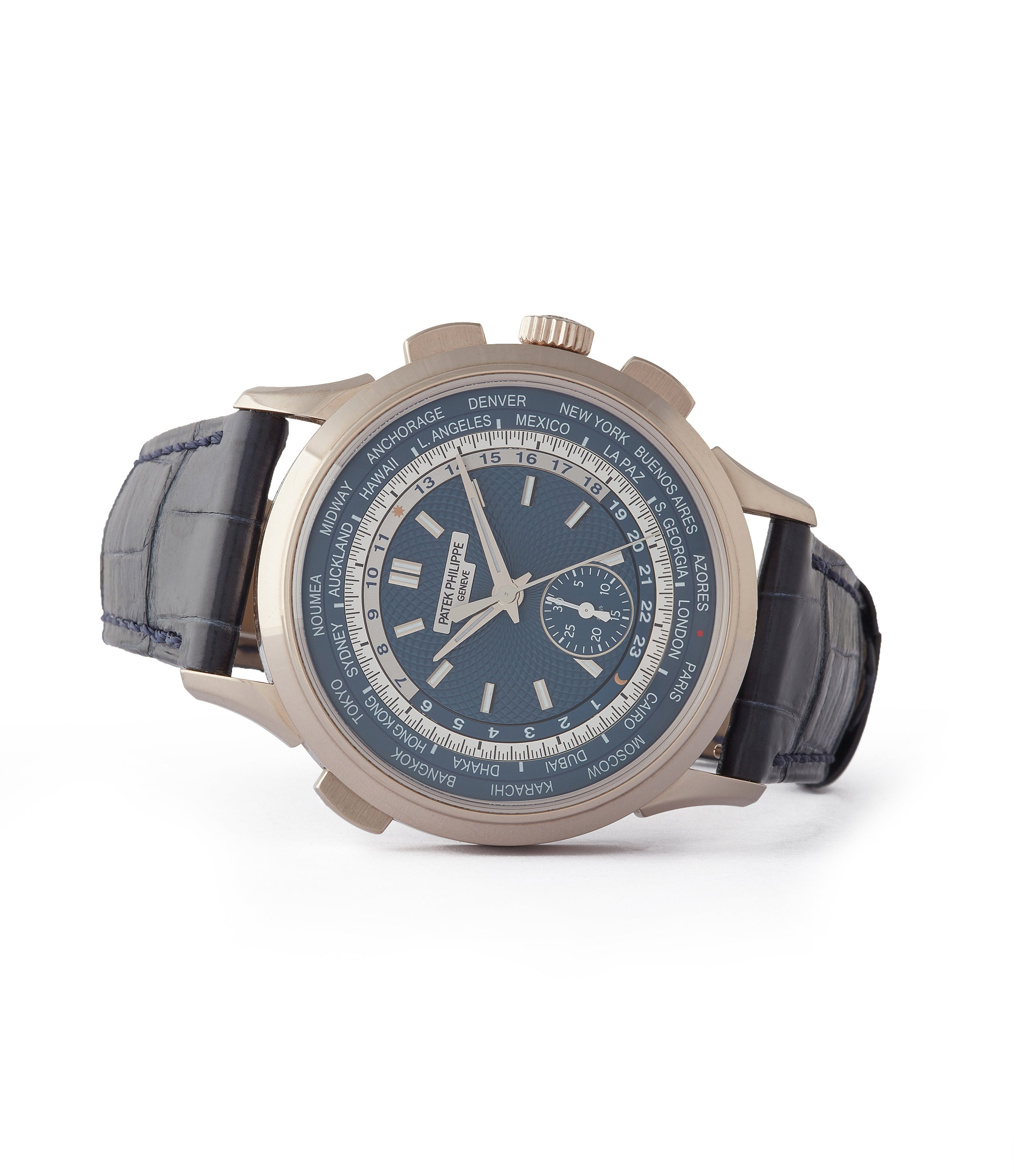 side-shot buy pre-owned Patek Philippe World Time Chronograph 5930G-001 white gold watch blue dial for sale online at A Collected Man London