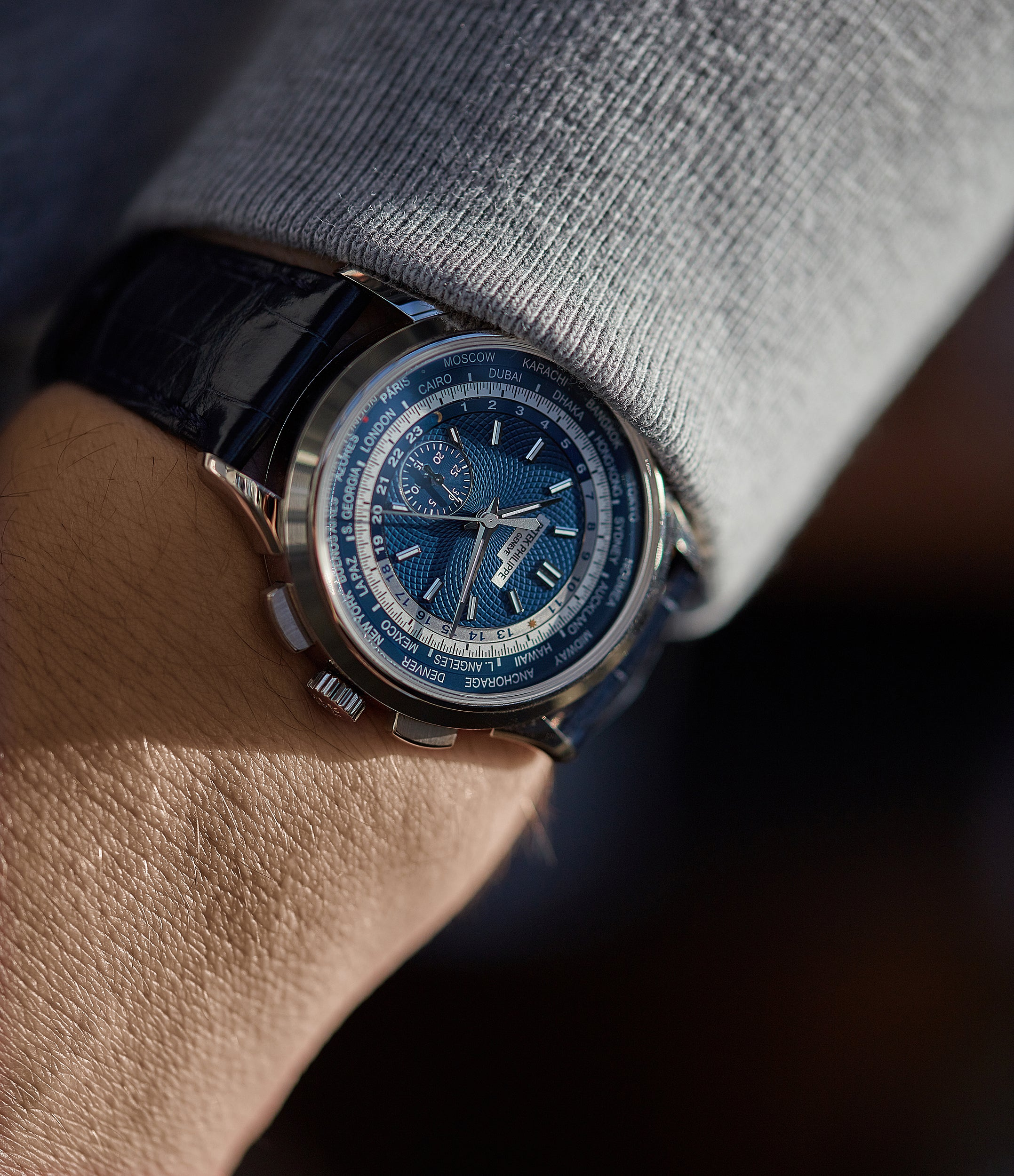 4a22bf1d5e1 on the wrist Patek Philippe Complications World Time Chronograph 5930G-001  white gold watch blue