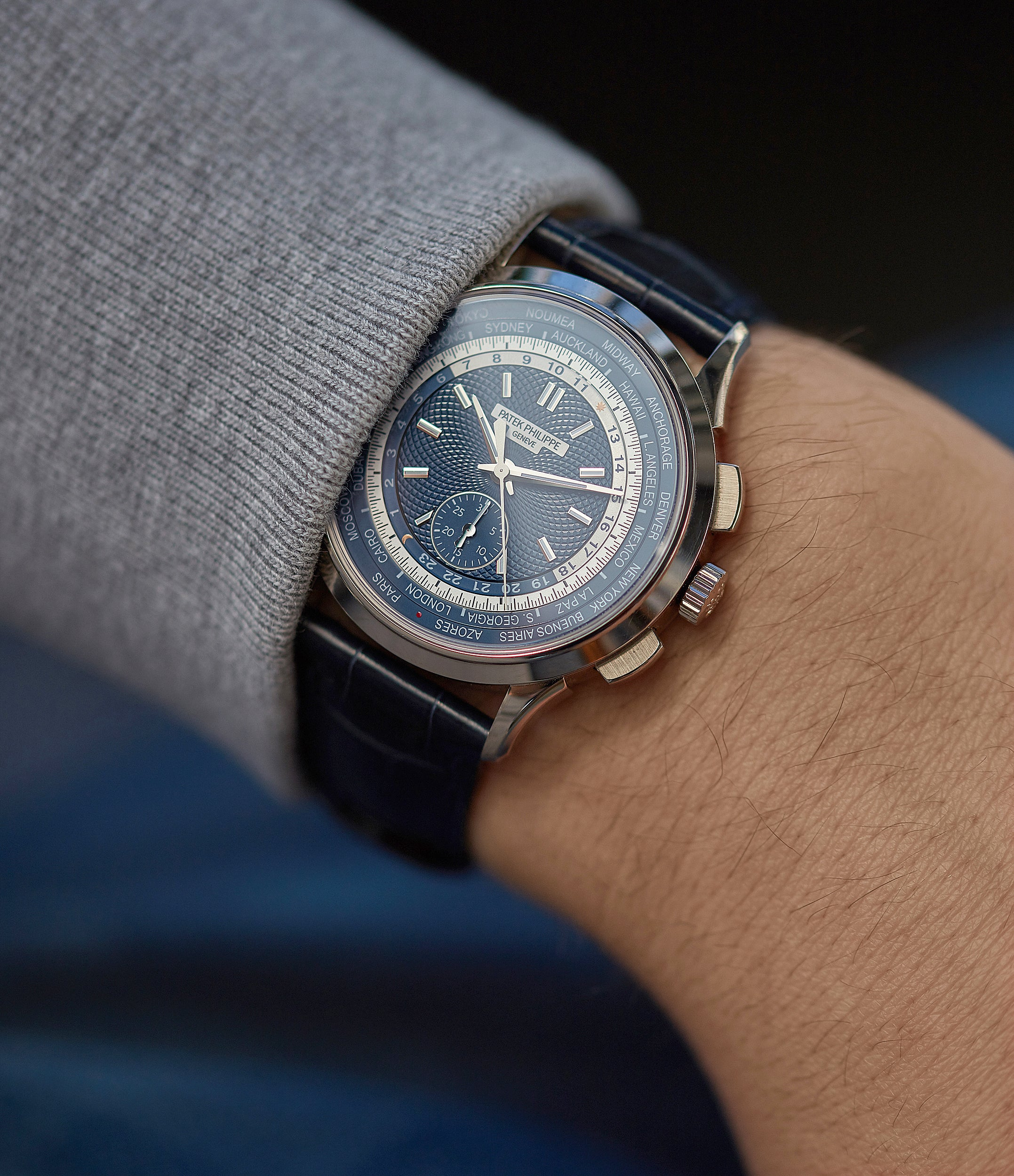 men's wristwatch Patek Philippe World Time Chronograph 5930G-001 white gold watch blue dial for sale online at A Collected Man London