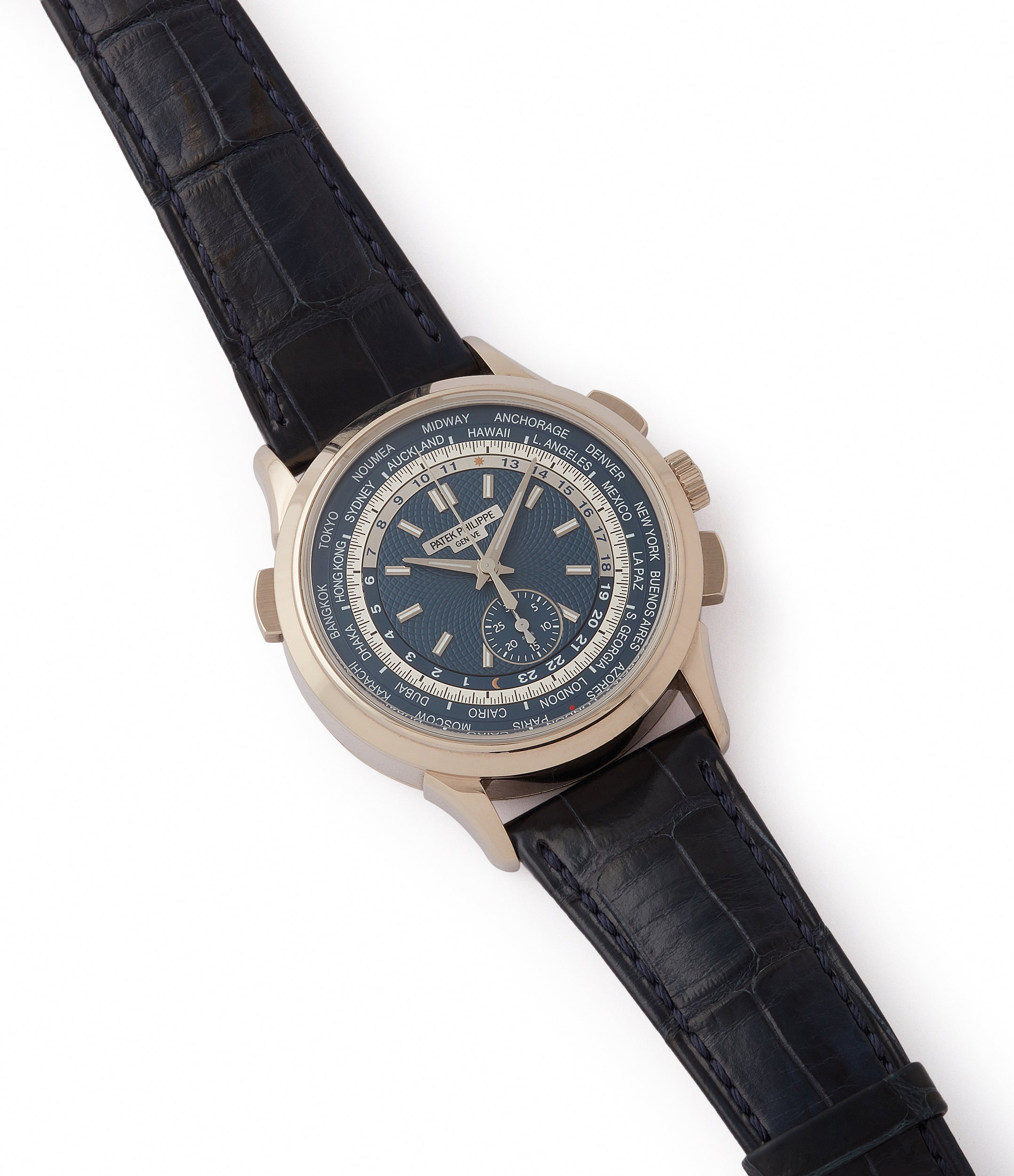 for sale Patek Philippe World Time Chronograph 5930G-001 white gold watch blue dial for sale online at A Collected Man London