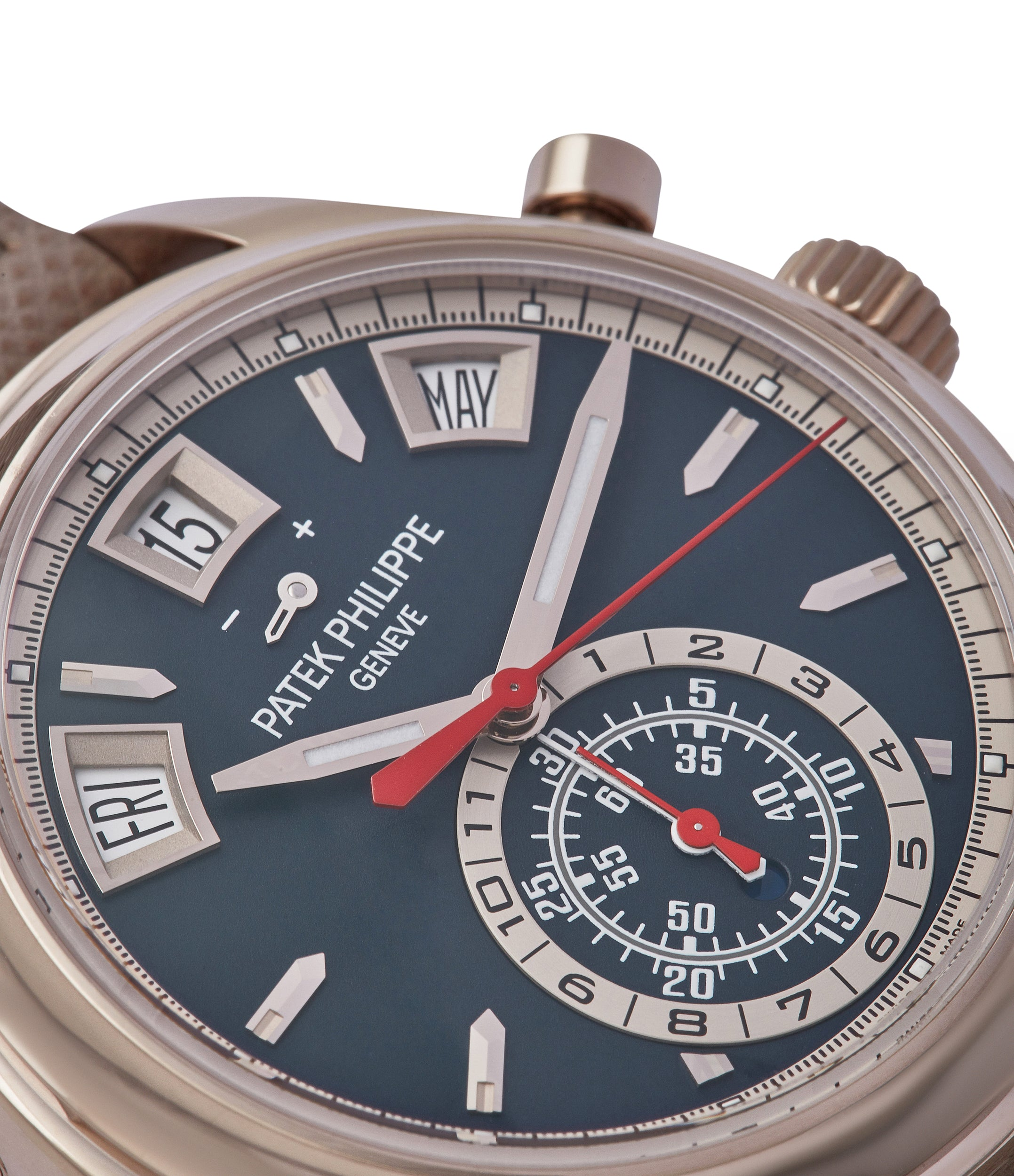 blue dial Patek Philippe 5960-01G Annual Calendar Flyback Chronograph pre-owned watch at A Collected Man London