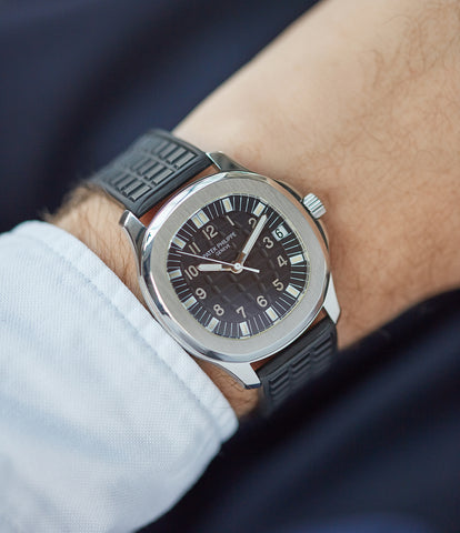 on the wrist Patek Philippe Aquanaut 5065A steel sport watch full set for sale online at A Collected Man London UK specialist of rare watches