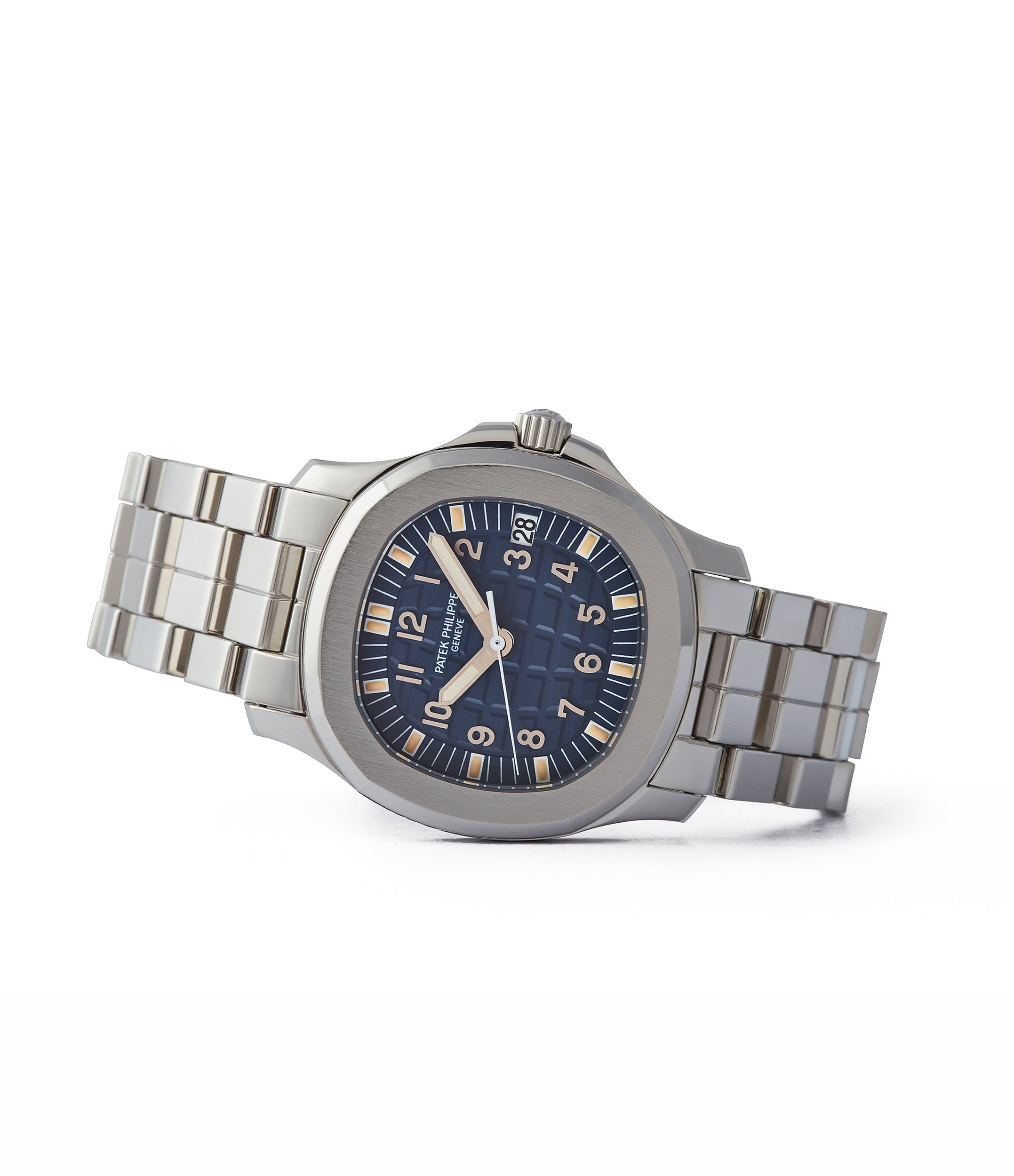 side-shot rare Japanese Patek Philippe Aquanaut 5066A-010 limited edition steel blue dial sports watch for sale online A Collected Man London
