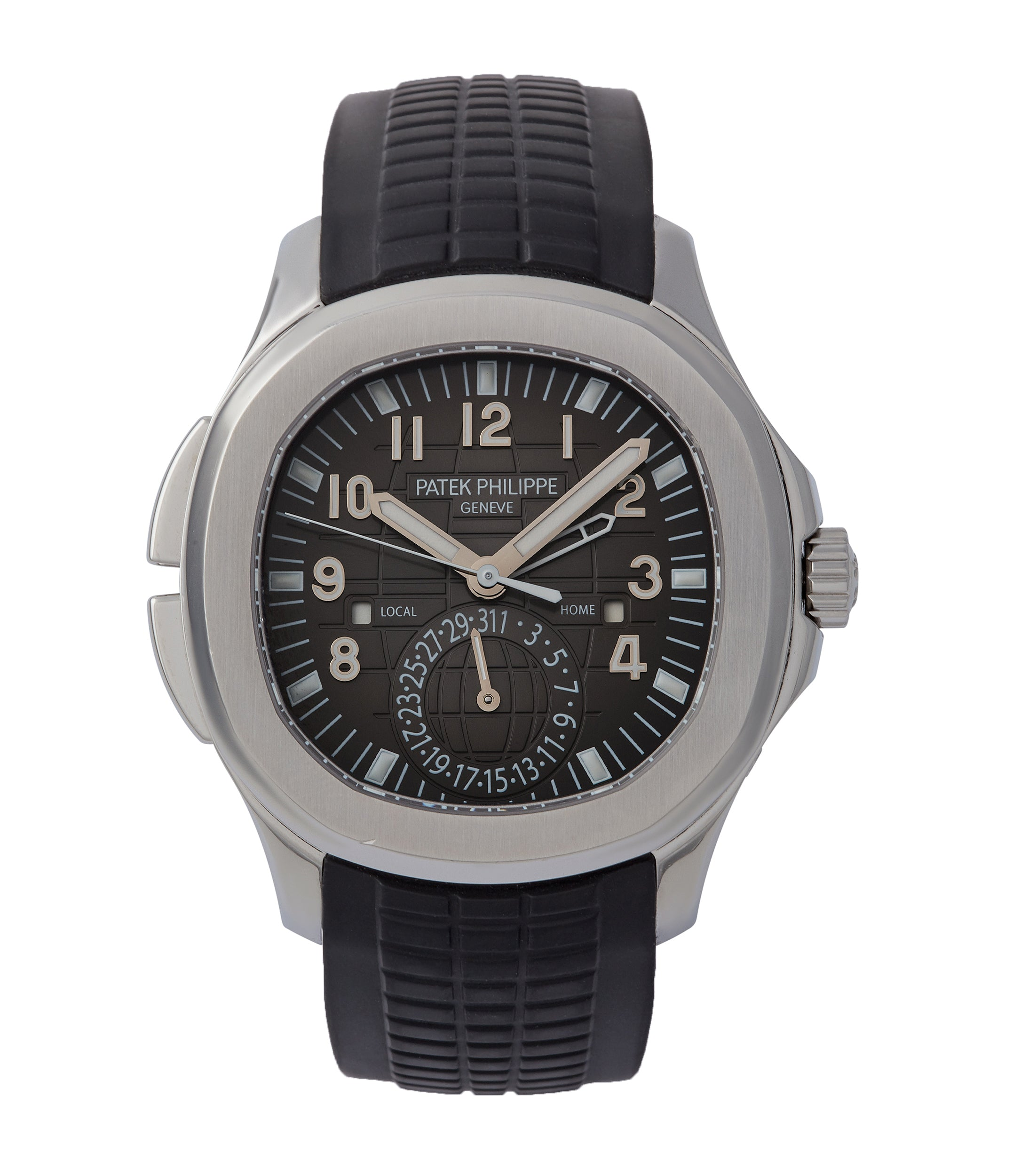 buy Patek Philippe Aquanaut Travel-time 5164A-001 steel sports traveller pre-owned watch for sale online at A Collected Man London specialist rare watches